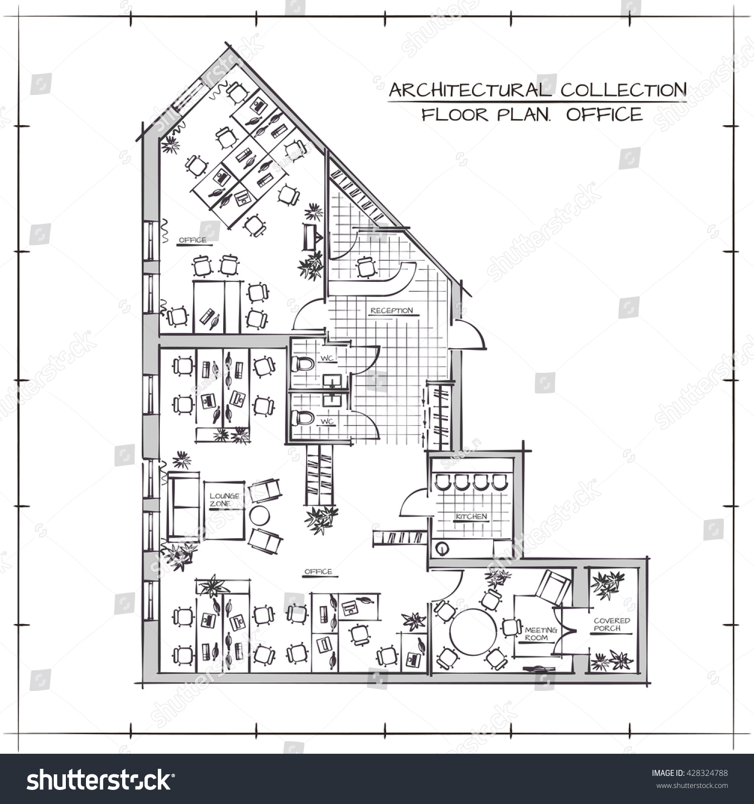 architectural handdrawn floor plan office workspace stock vector
