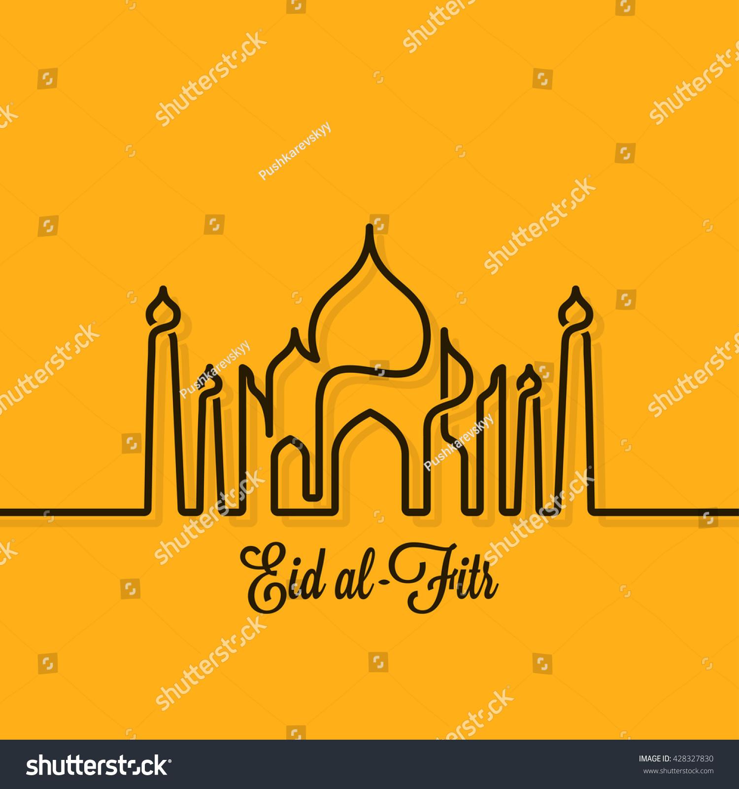 Eid Mubarak Design Line Concept Background Stock Vector Royalty Free 428327830