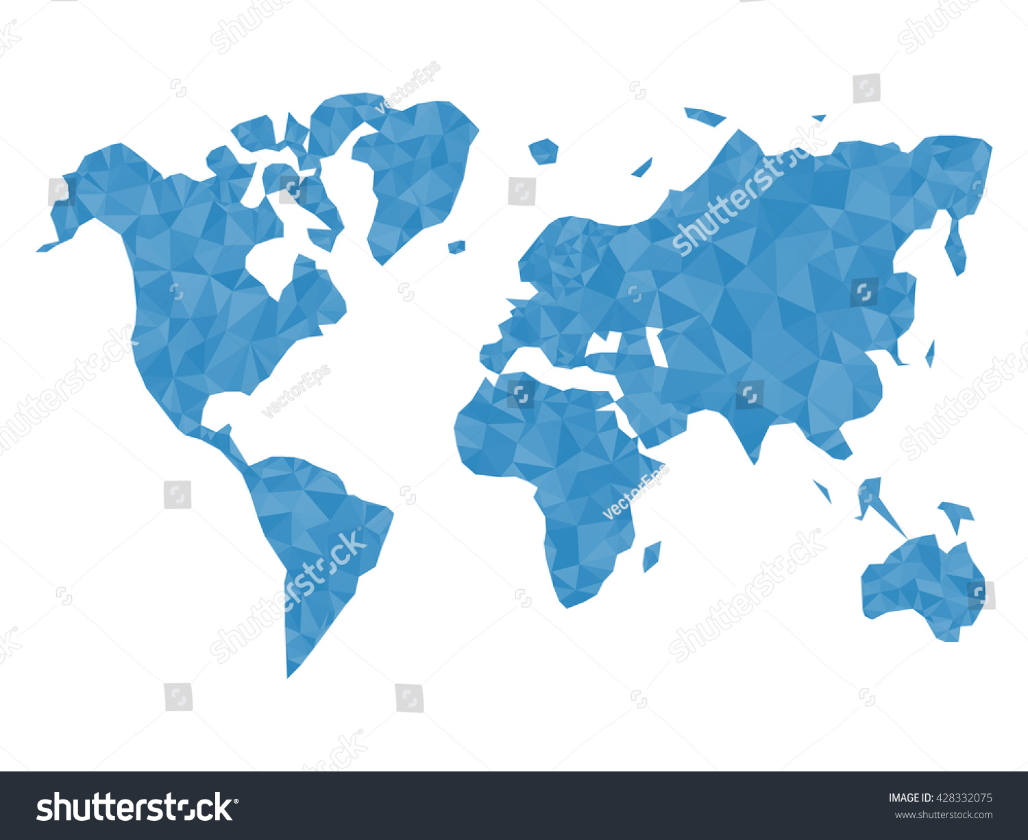 Blue polygonal world map isolated on stock vector 428332075 blue polygonal world map isolated on white background triangle template for website infographics gumiabroncs Image collections