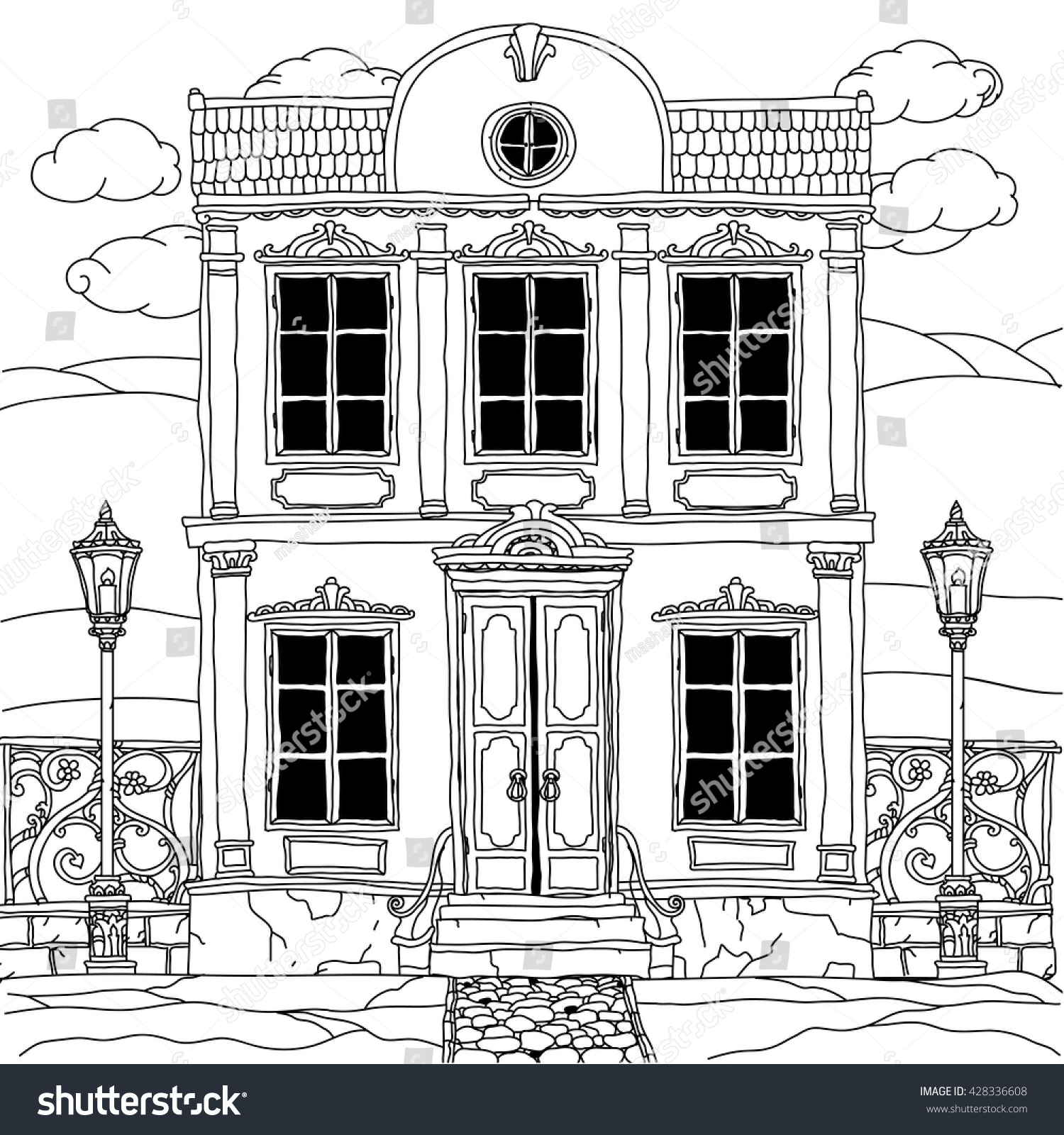 The coloring book poster - House Drawing With Details For Adult Coloring Book Or For Zen Art Therapy Anti Stress Drawing