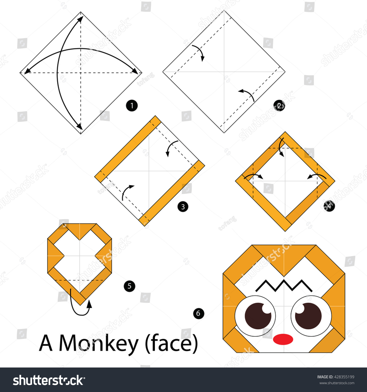 Step By Instructions How To Make An Origami A Monkey 428355199