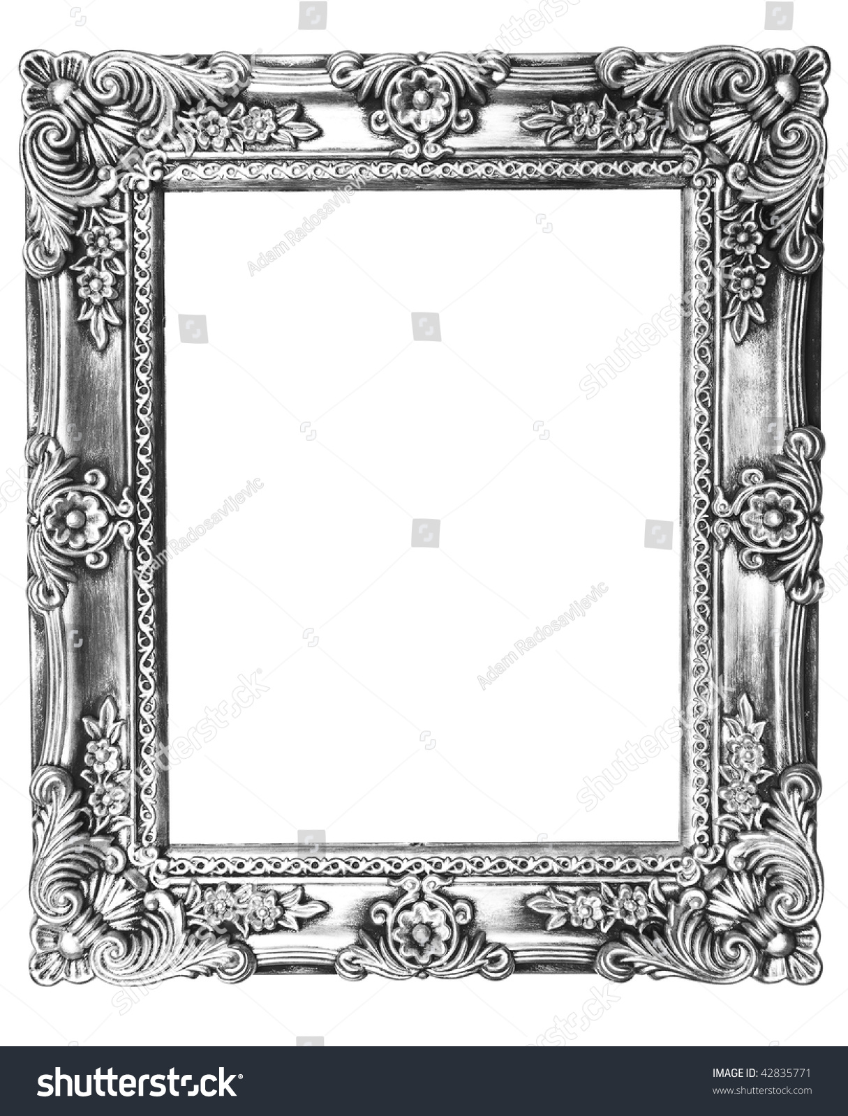 Old Silver Picture Frame On White Background Stock Photo 42835771 ...