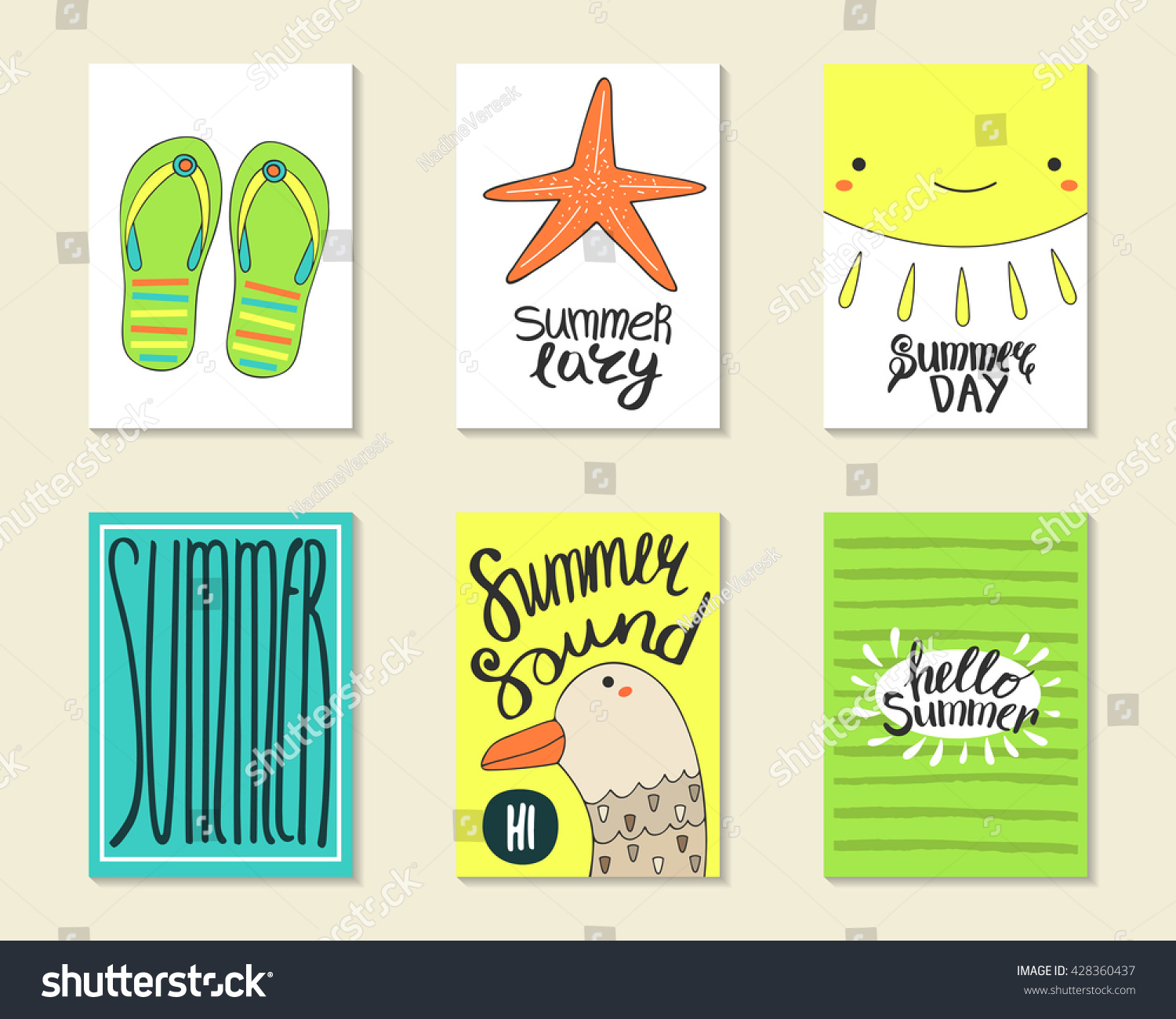 Cute Doodle Summer Party Cards Brochures Invitations With Flip Flops Sea Star
