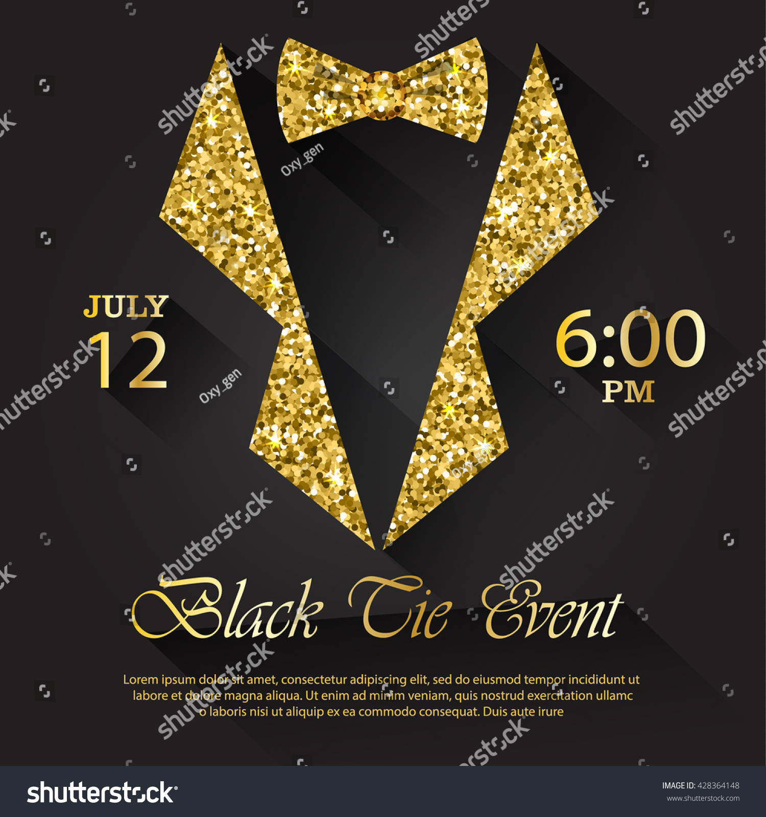 black tie event invitation vector illustration stock