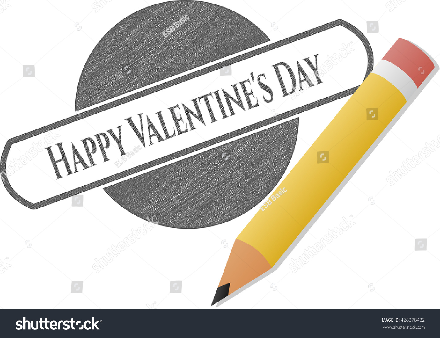 Happy Valentines Day Draw Pencil Effect Stock Vector Royalty Free
