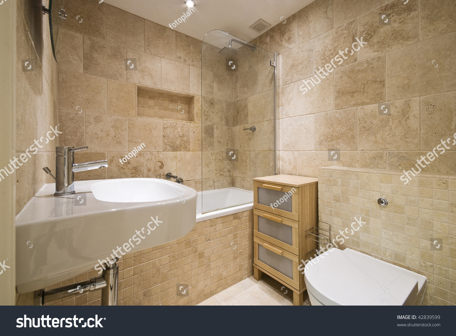 Bath Tap With Shower Attachment Modern Luxury Bathroom Beige Marble Stone Stock Photo