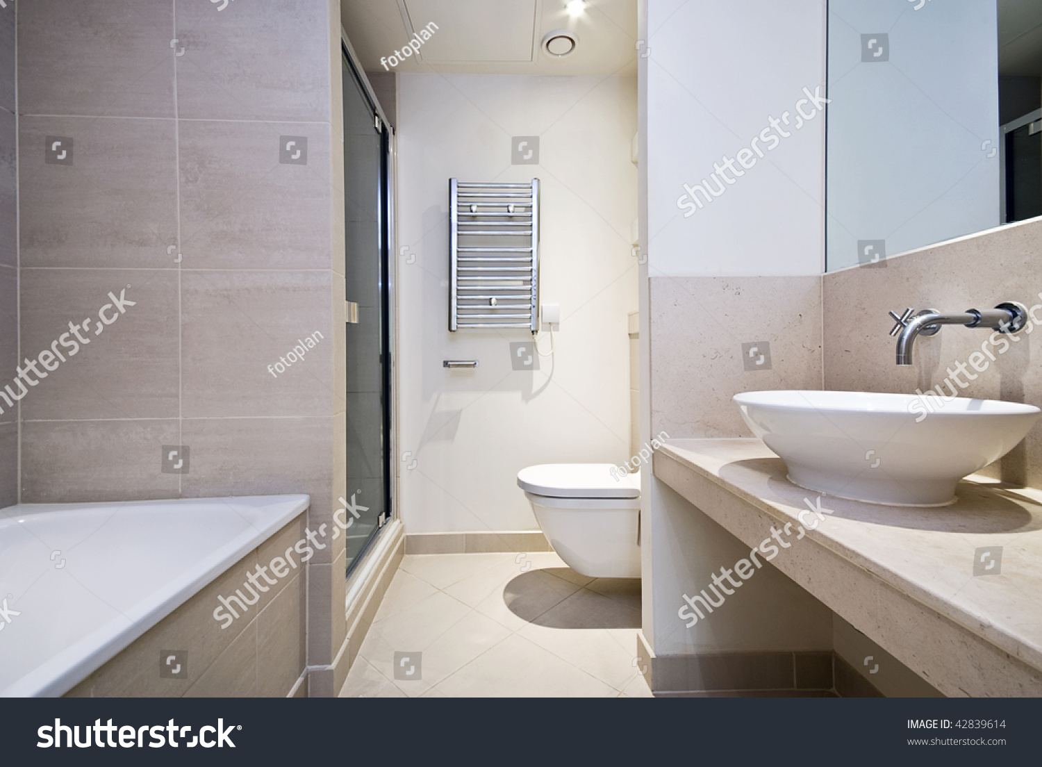 Contemporary En Suite Bathroom Light Brown Stock Photo (Edit Now ...