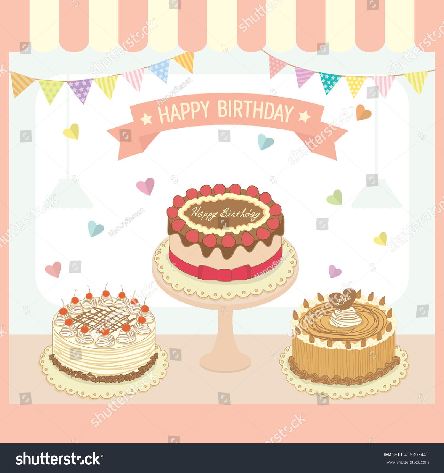 Illustration Vector Cakes Menu Design Birthday Stock Vector Royalty