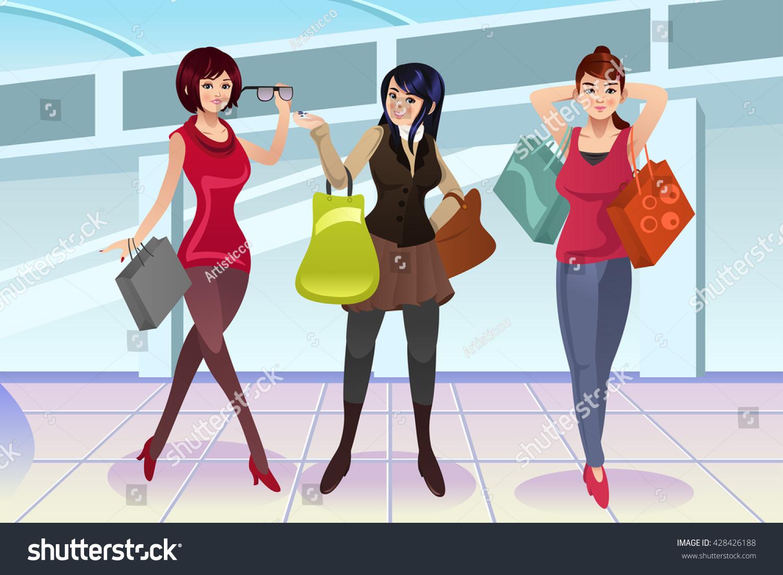 Vector Illustration Modern Women Shopping Mall Stock Vector