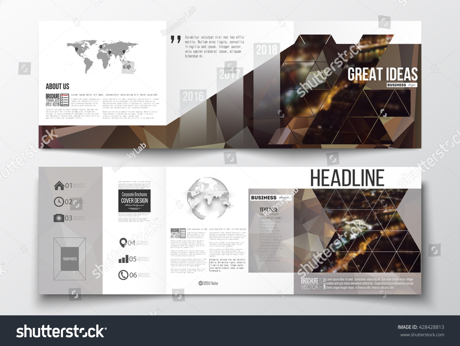 Vector Set Of Tri Fold Brochures Square Design Templates With Element Of World Map