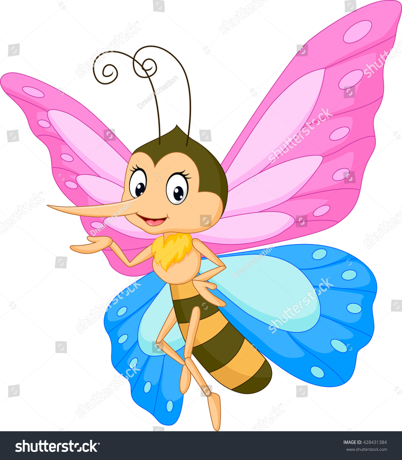 cute butterfly cartoon presenting stock vector 428431384
