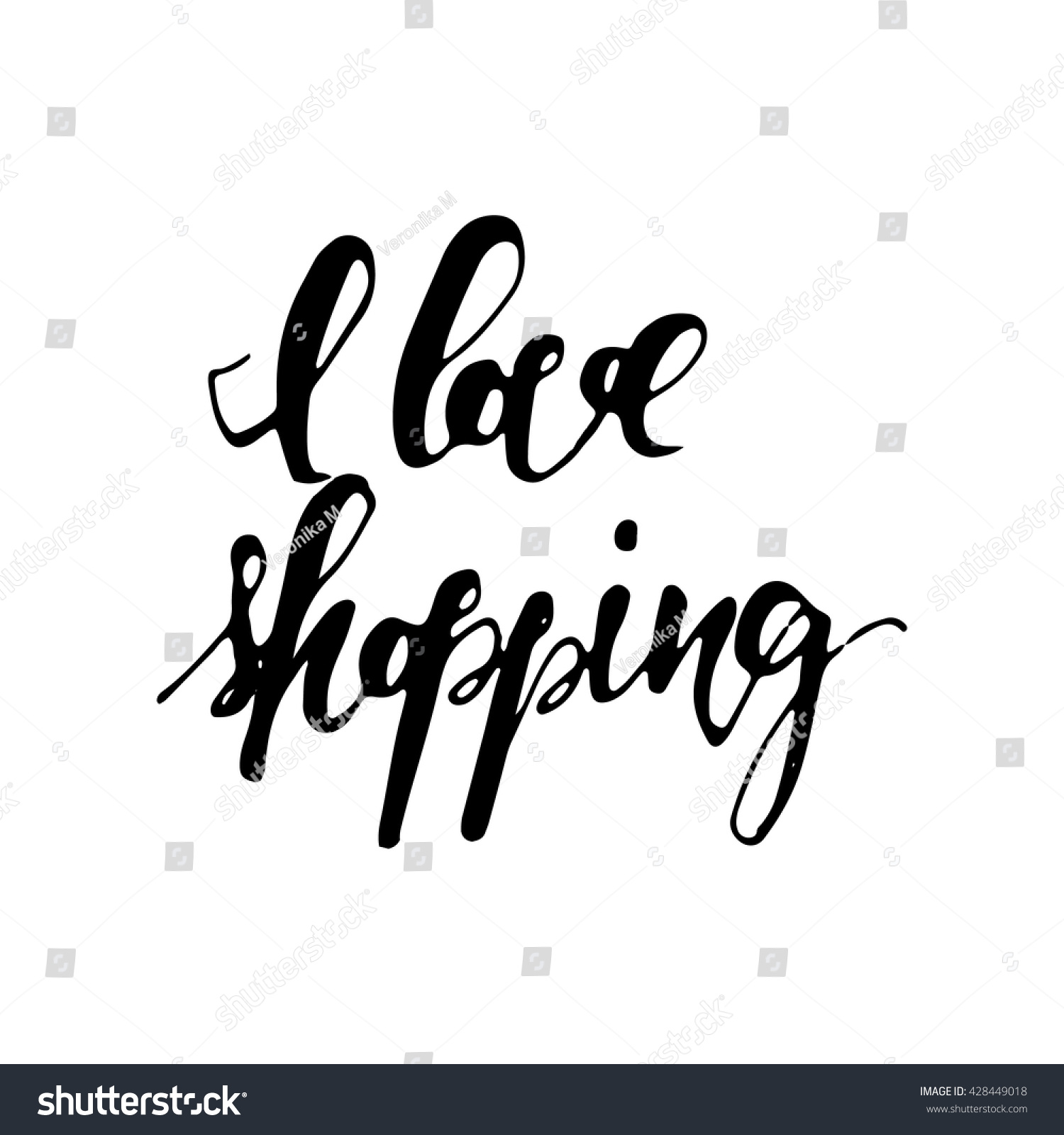Stock Quote T Love Shopping Sale Banner Hand Lettering Stock Vector 428449018