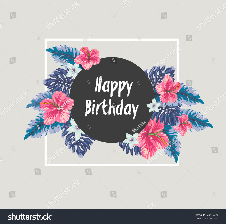 happy birthday card hawaiian flowers stock vector, Birthday card