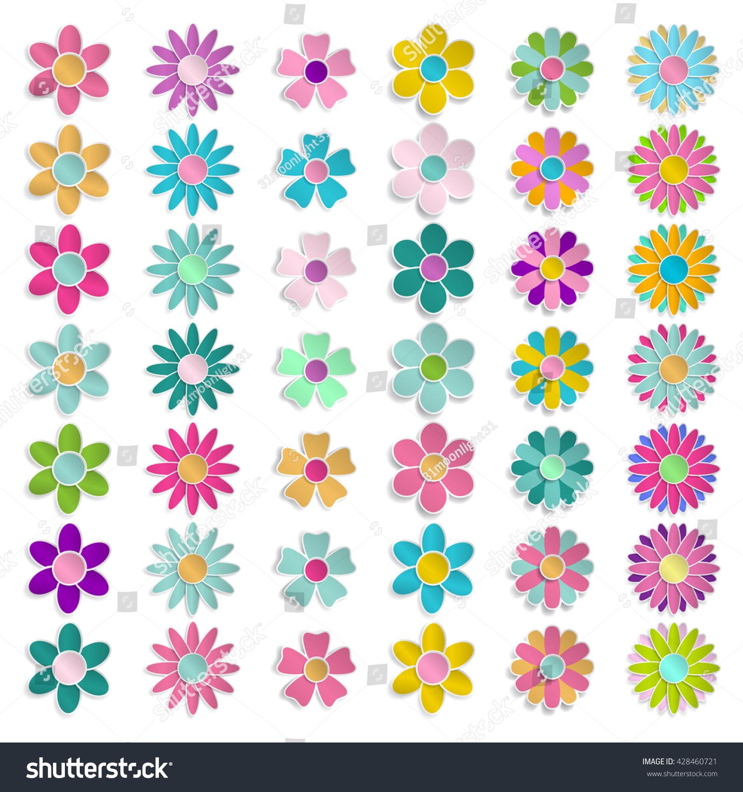 Set Paper Flowers Various Colors Shapes Stock Illustration 428460721