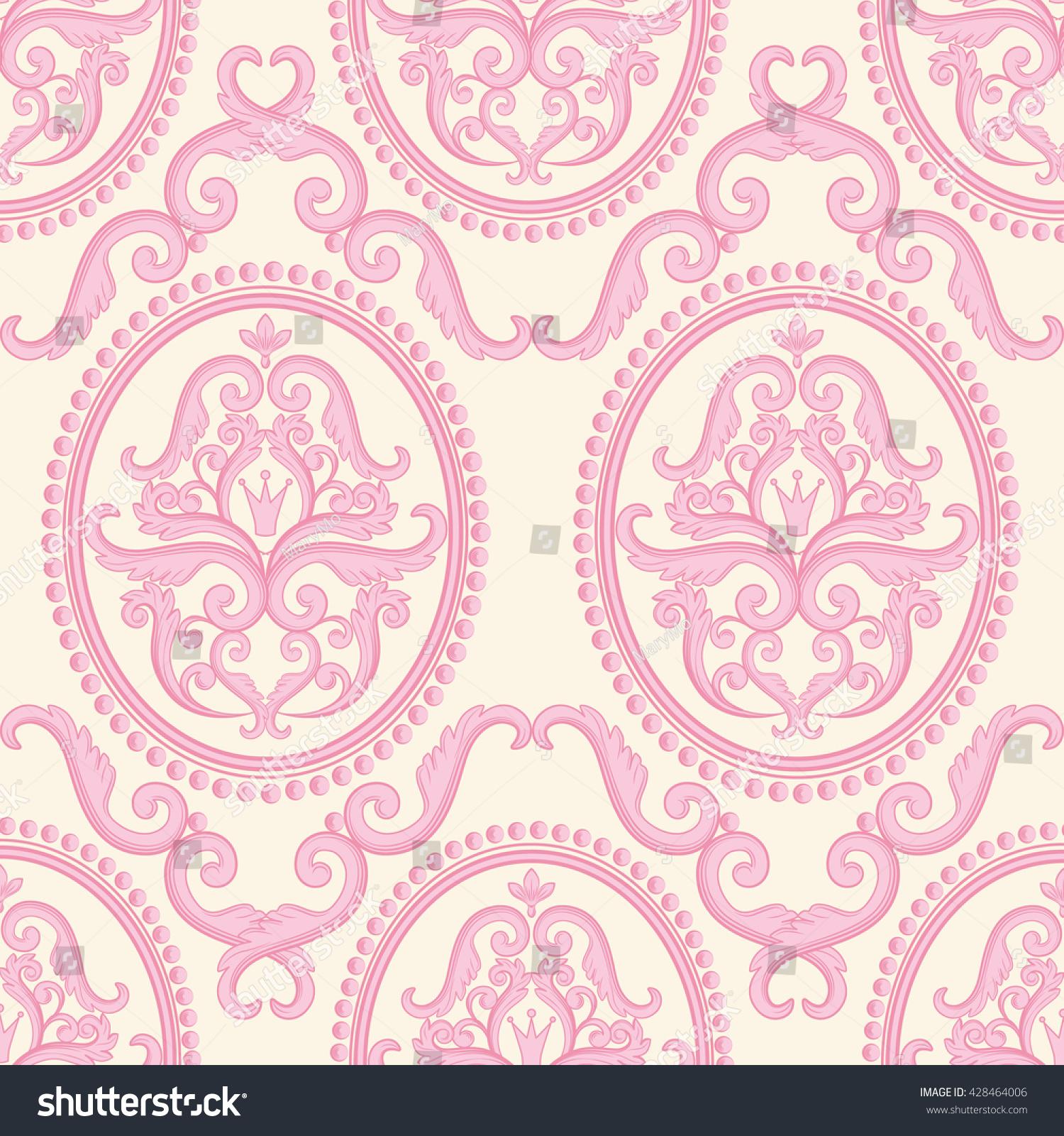Seamless Damask Pattern Pink Pastel Texture 428464006
