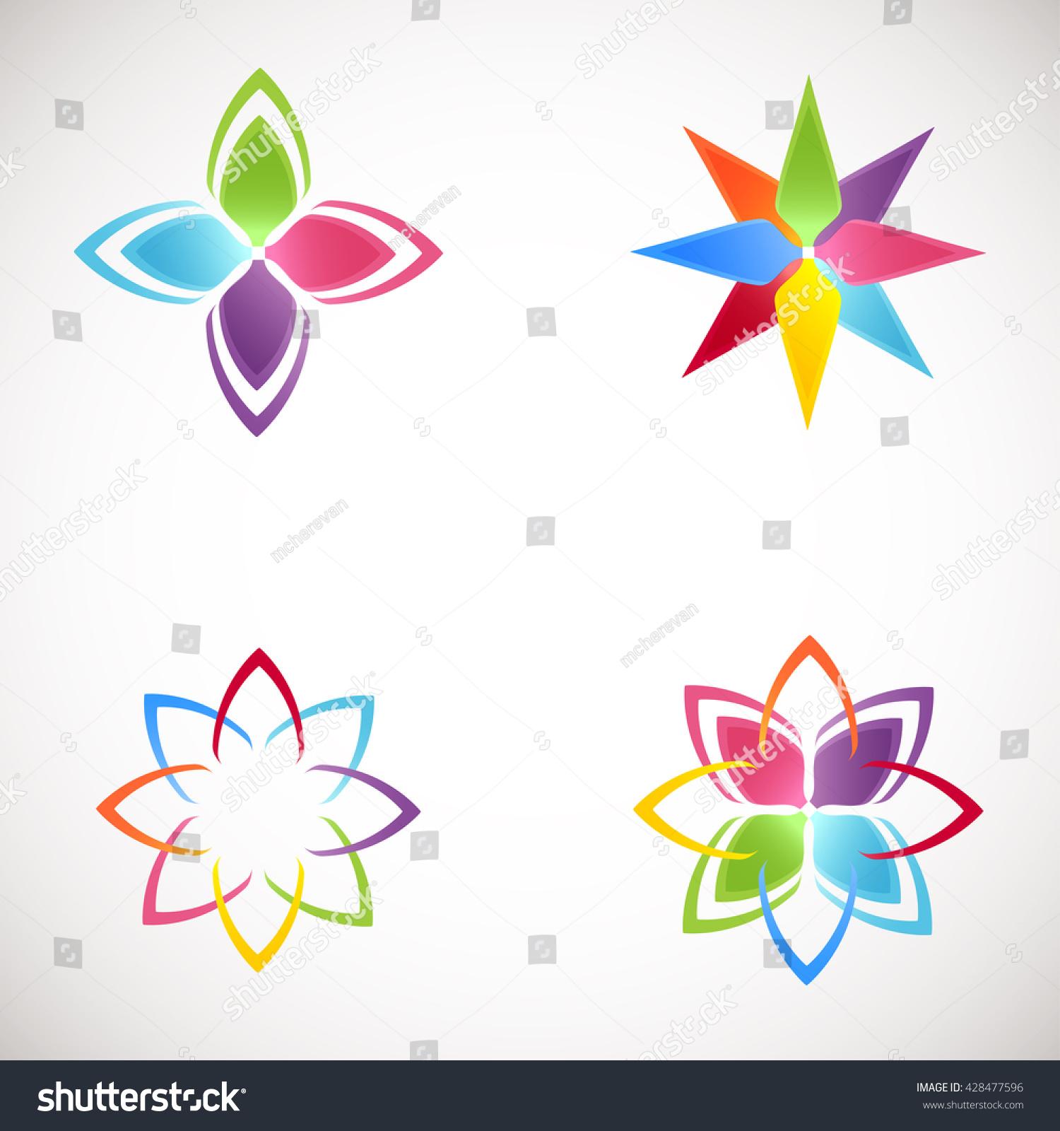 Yoga pattern background seamless pattern with five petals lotus flower - Lotus Logotype Icons Set Bright Colors Flower Logos Lotus Flower Logo For Beauty Salon