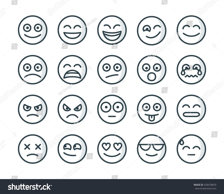 Line Art Emojis : Emoji de mono emojis t