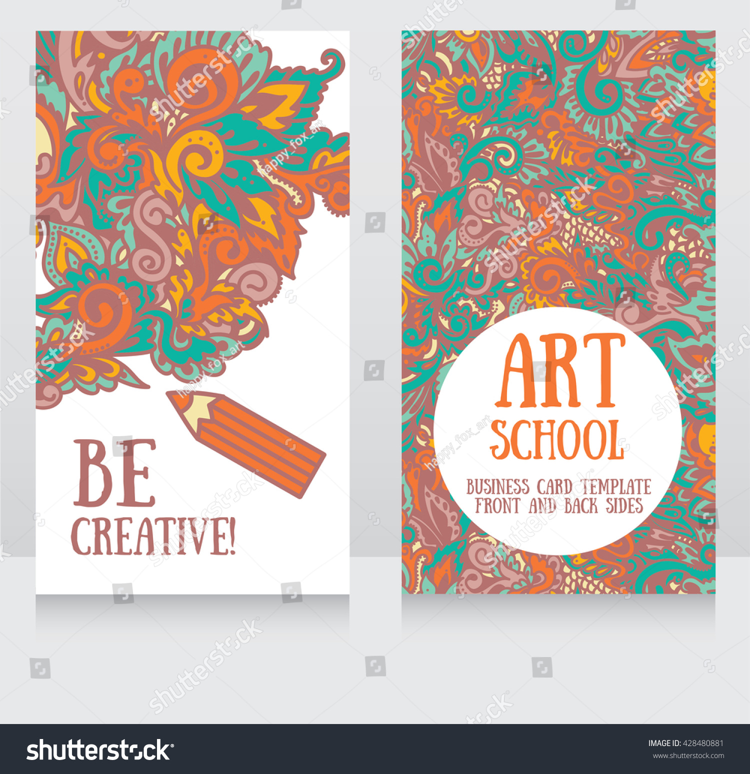 Business Cards Template Art School Can Stock Vector 428480881 ...