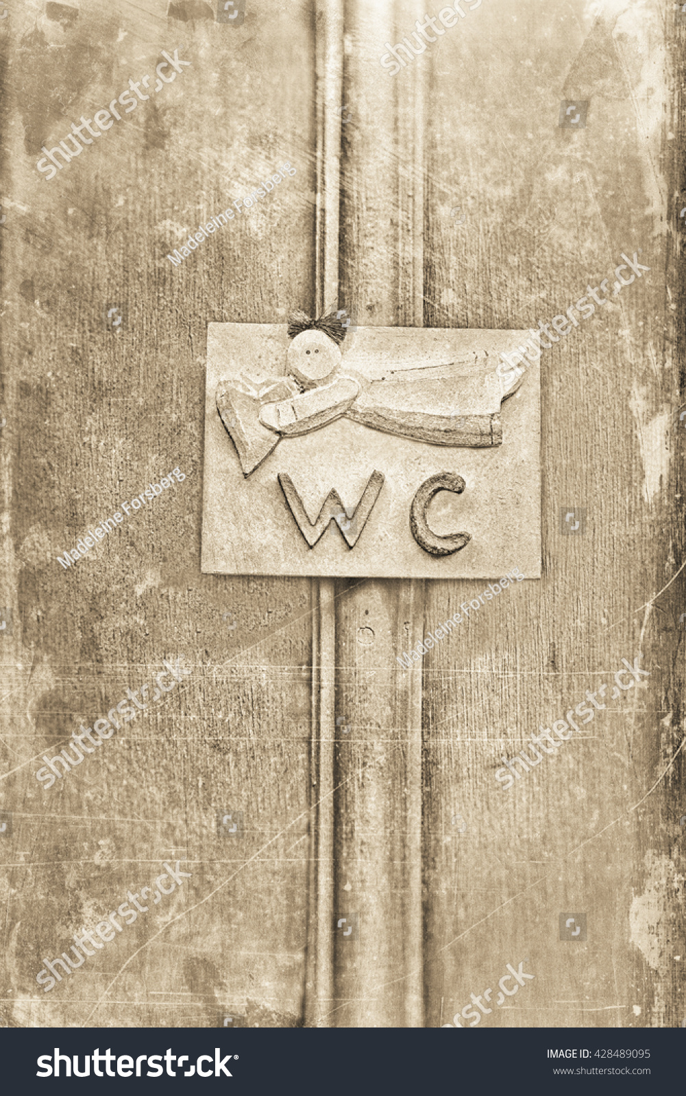 privy toilet sign on wooden door stock photo 428489095 shutterstock. Black Bedroom Furniture Sets. Home Design Ideas