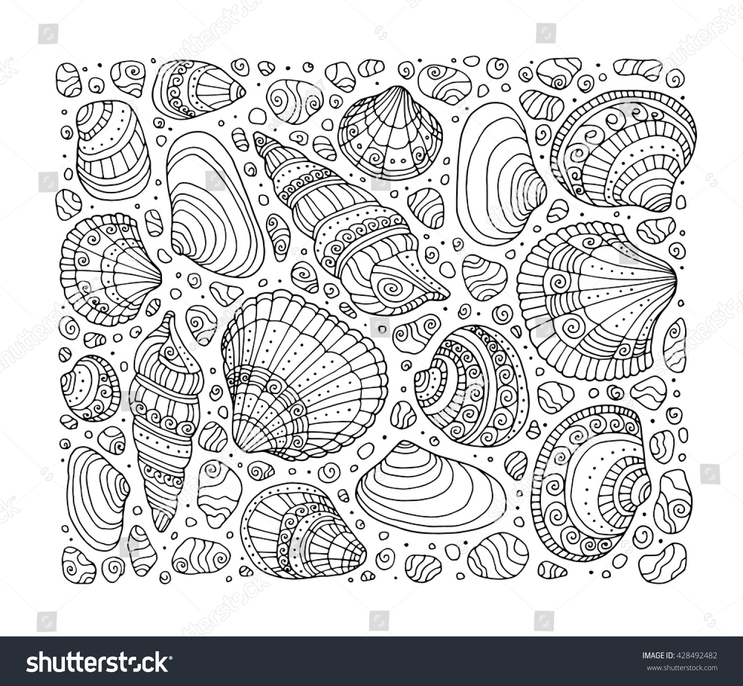 seashell pattern art background vector illustration zentangle coloring book page for adult - Zentangle Coloring Book