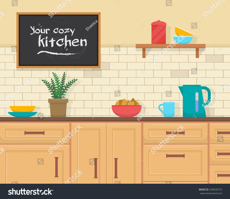 Kitchen furniture set cozy kitchen interior stock vector for Kitchen set vector