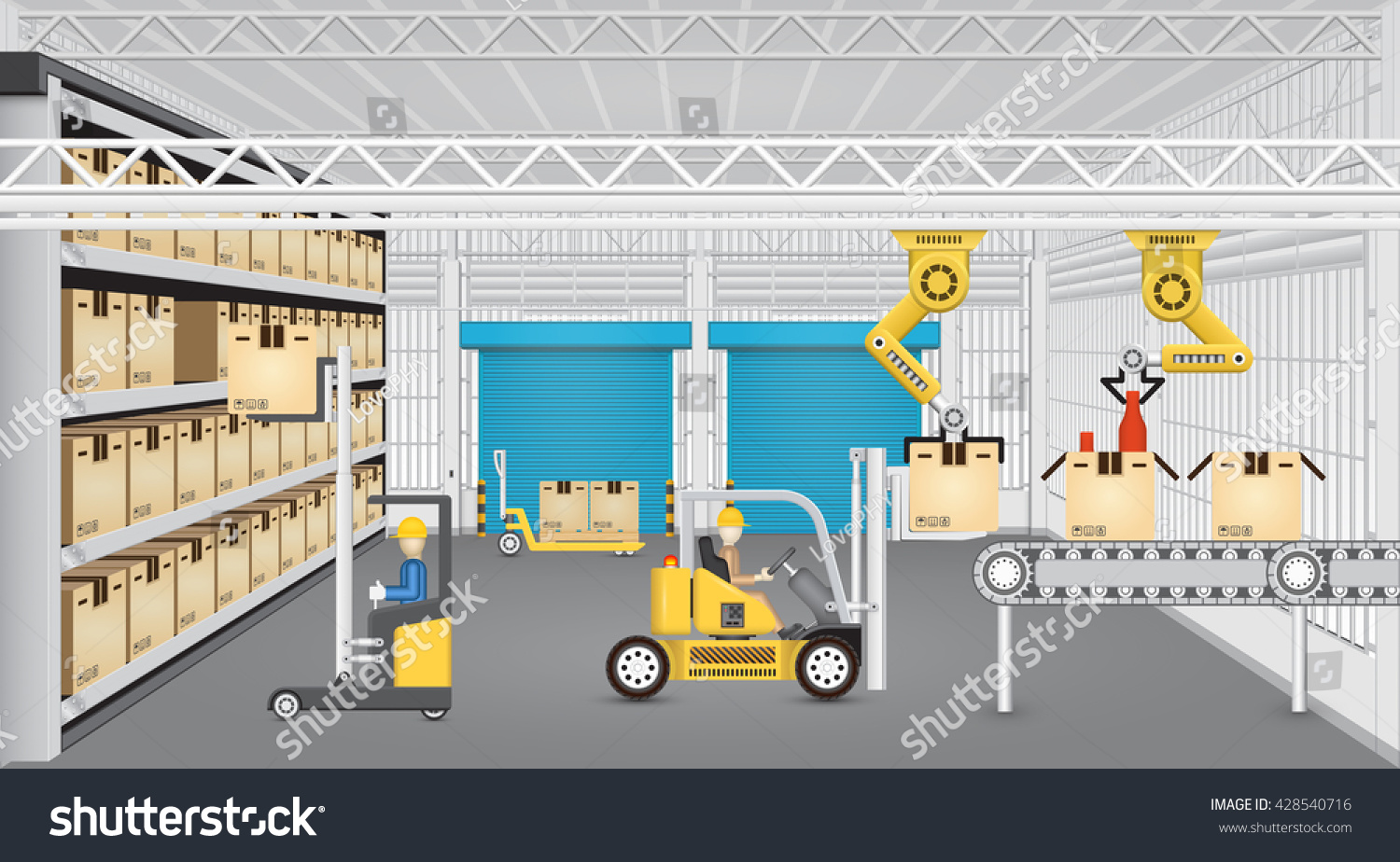 Robot working production line forklift inside stock vector for Production builder