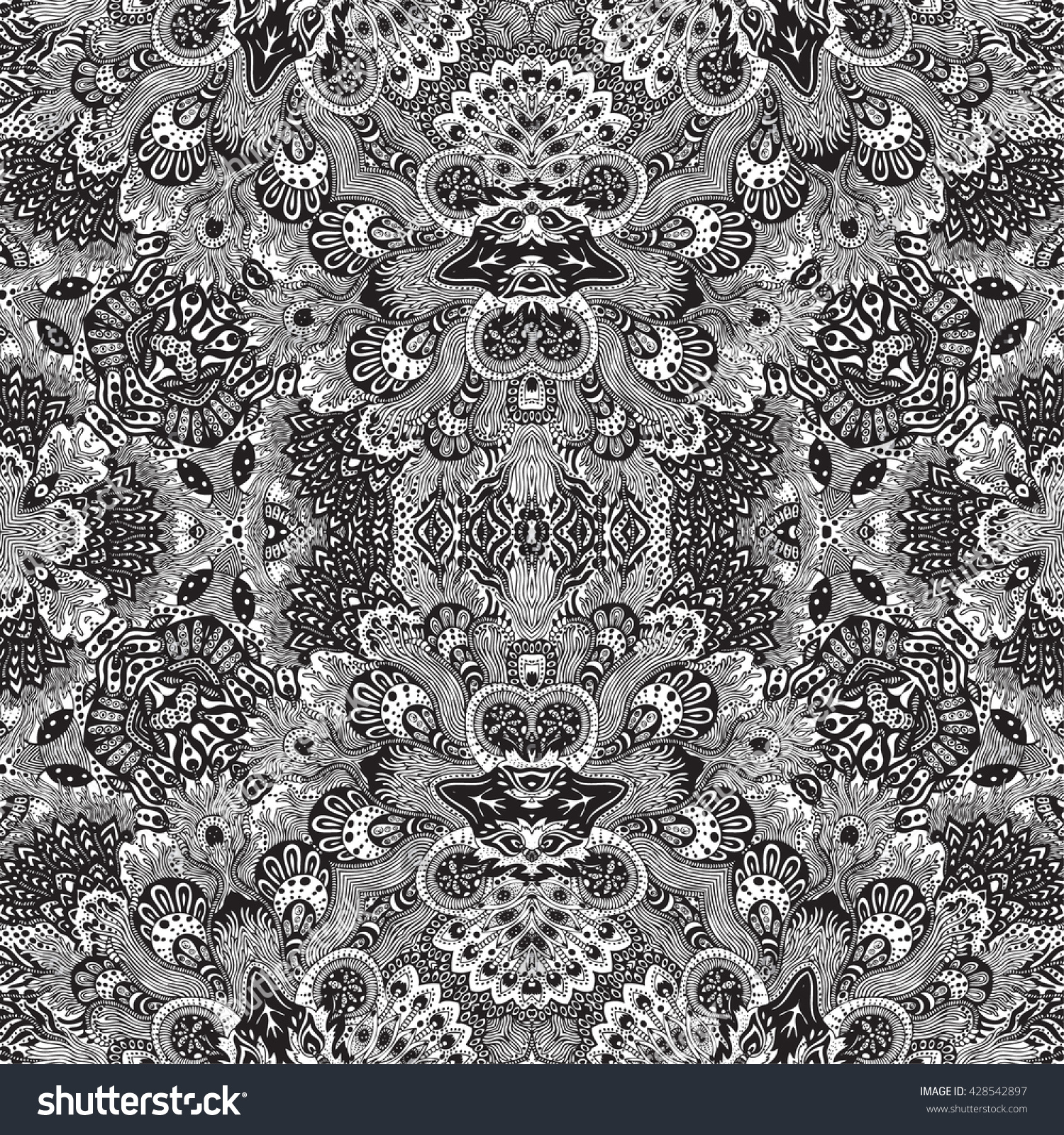 The beautiful of art fabric Batik Pattern in black and white background