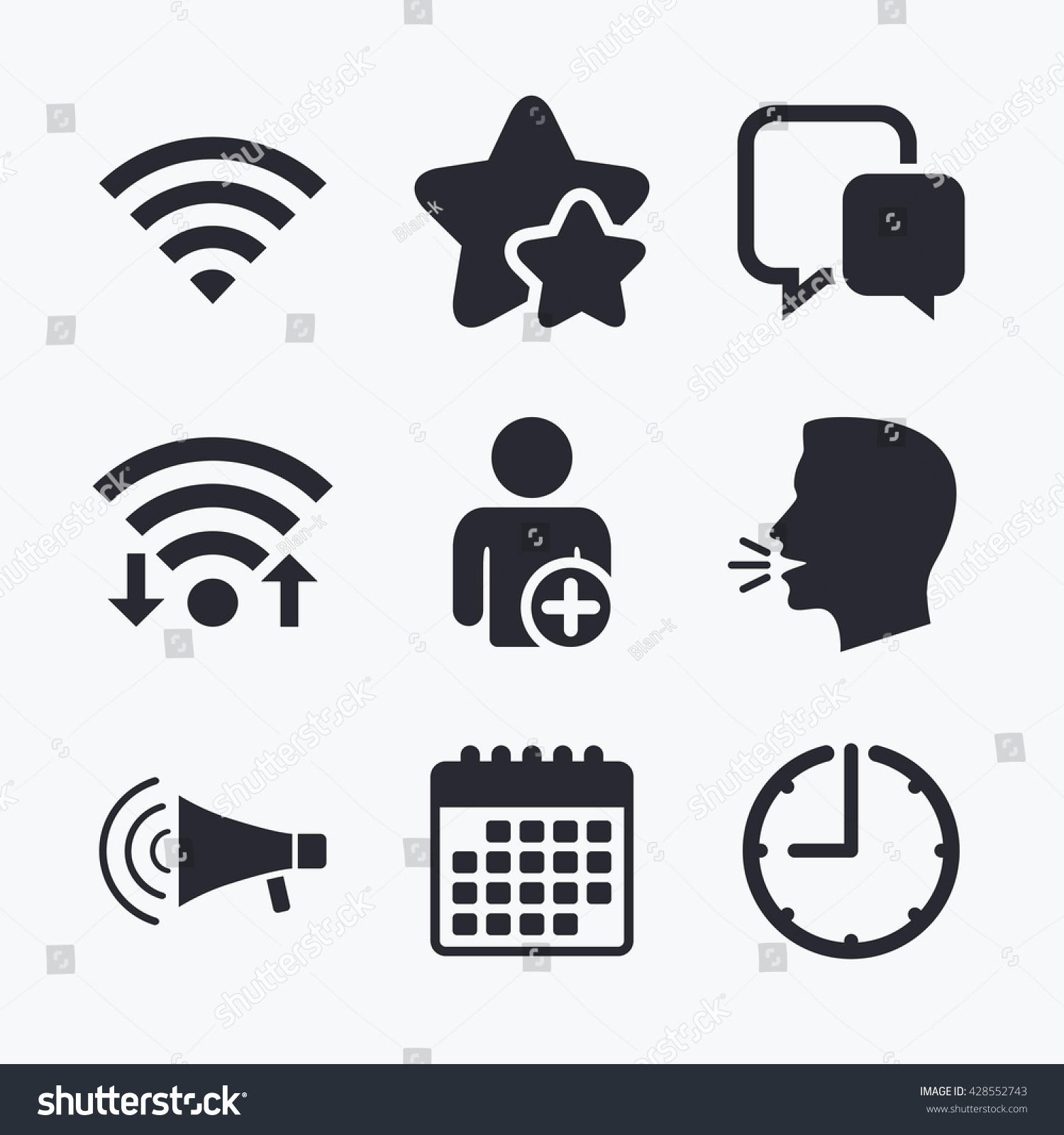 Wifi And Chat Bubbles Icons Add User And Megaphone Loudspeaker