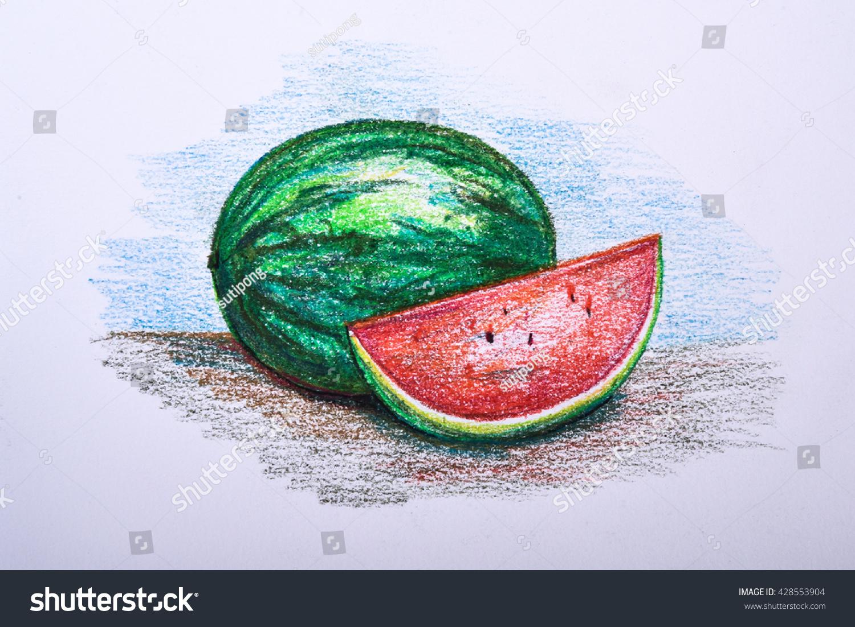 Drawing Fruit Colour Pencil Watermelon Stock Illustration 428553904 ...