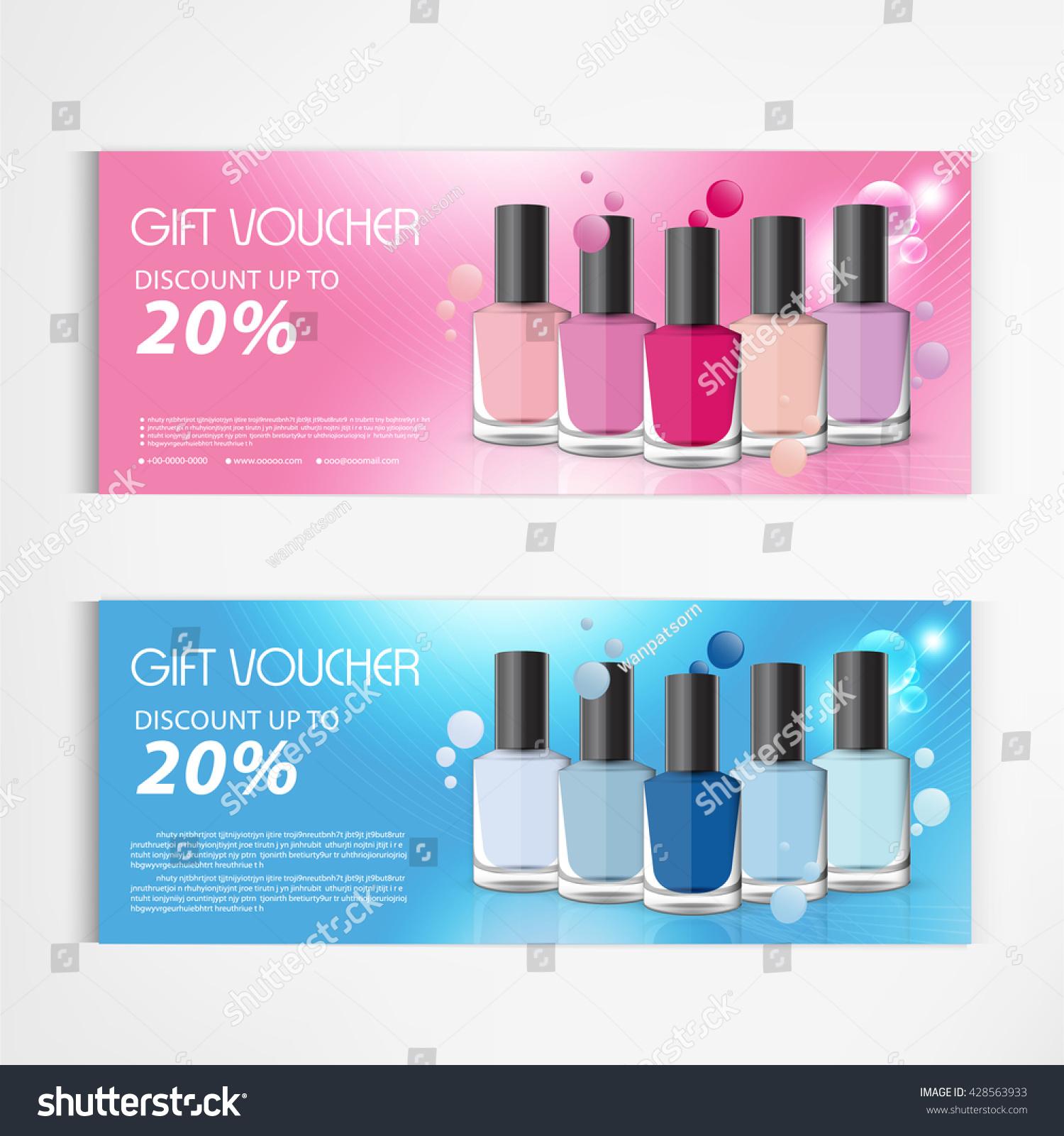 Gift Voucher Nail Polish Bottle Drop Stock Vector Royalty Free