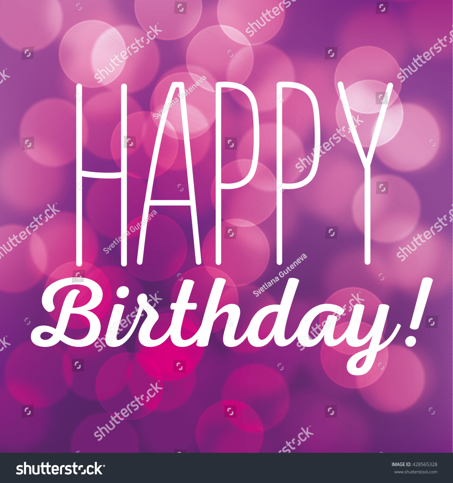 Vector Lettering Greeting Card Happy Birthday Stock Vector