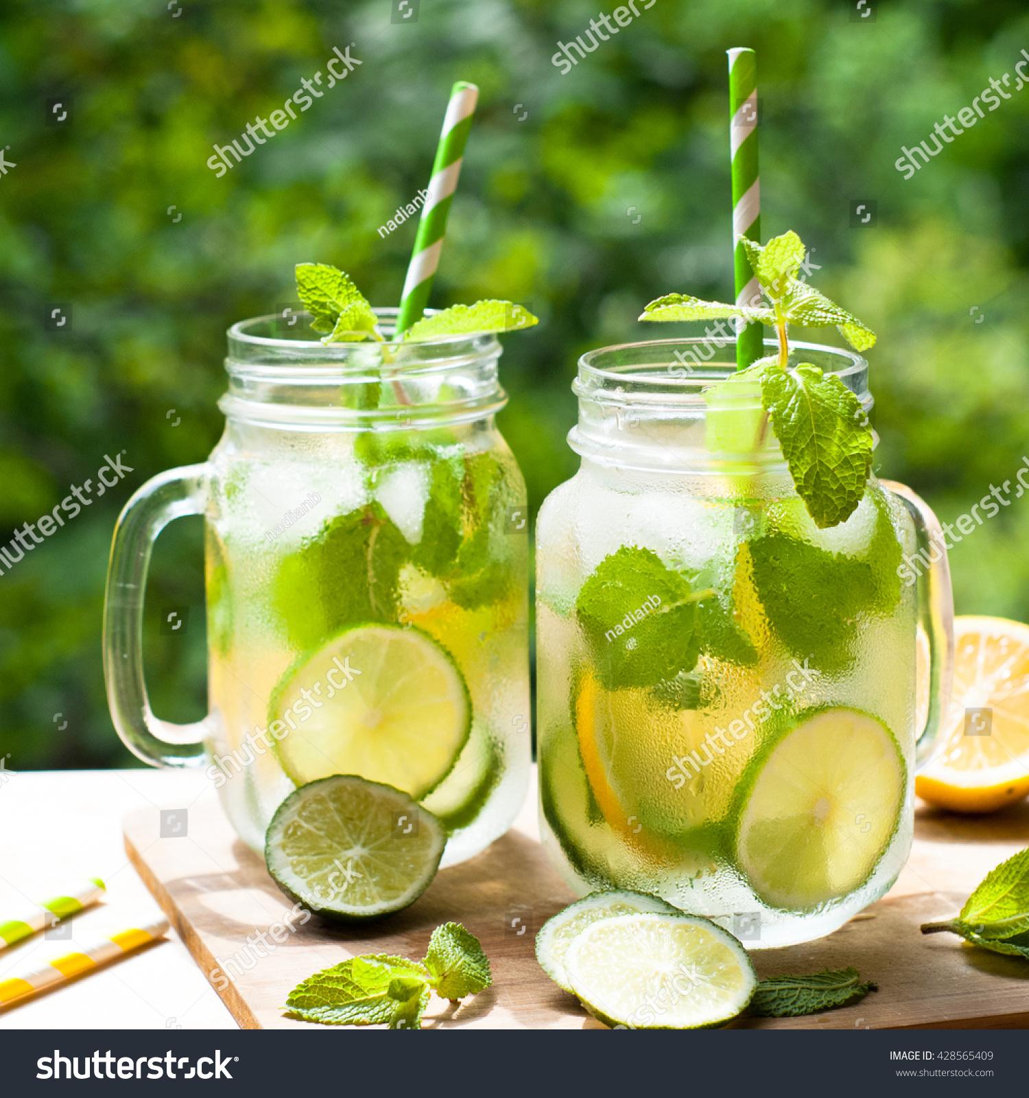 Summer Drink Lemonade Mojito Lime Lemon Stock Photo (Edit