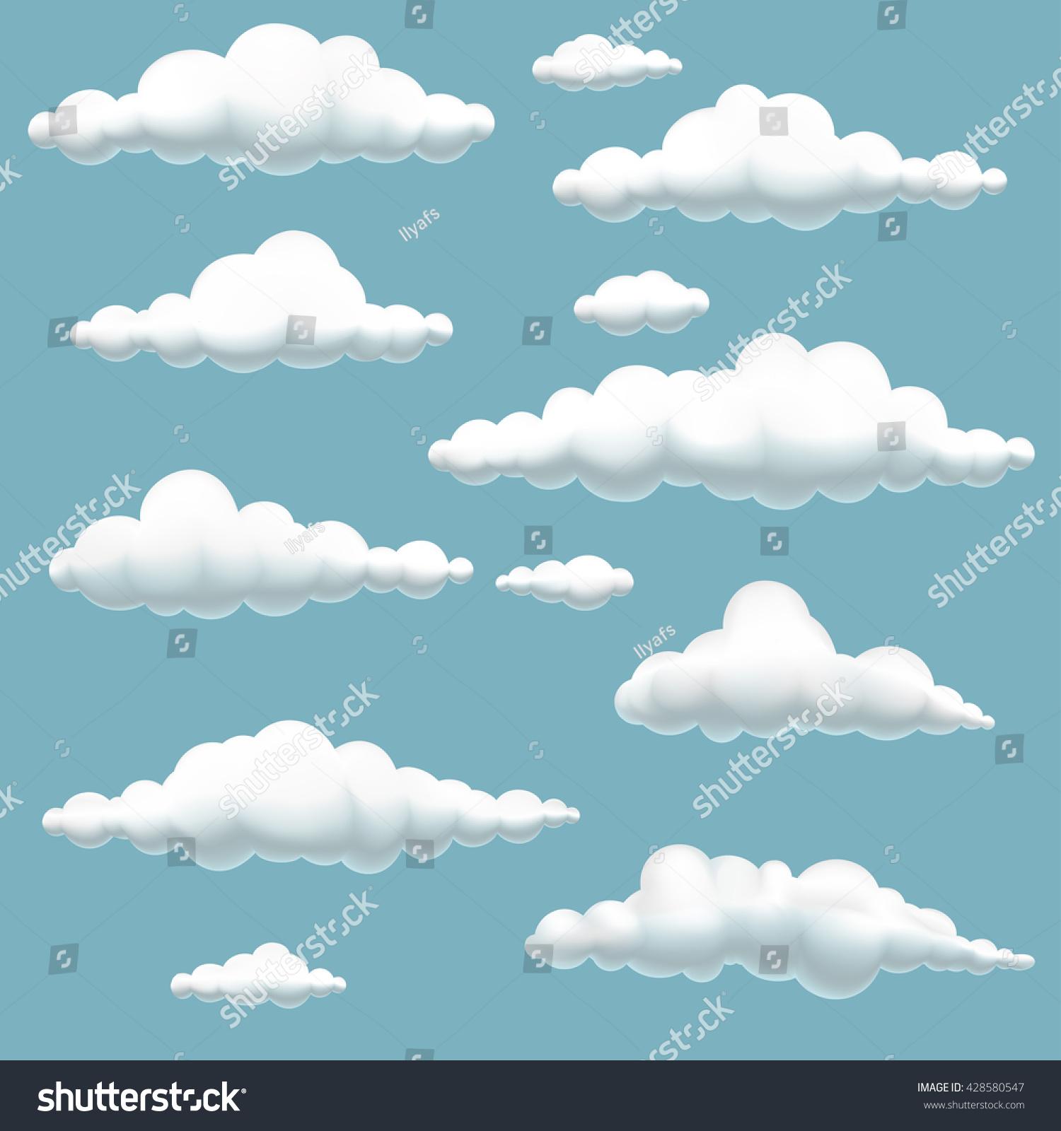 big set volumetric cartoon clouds on stock vector 428580547