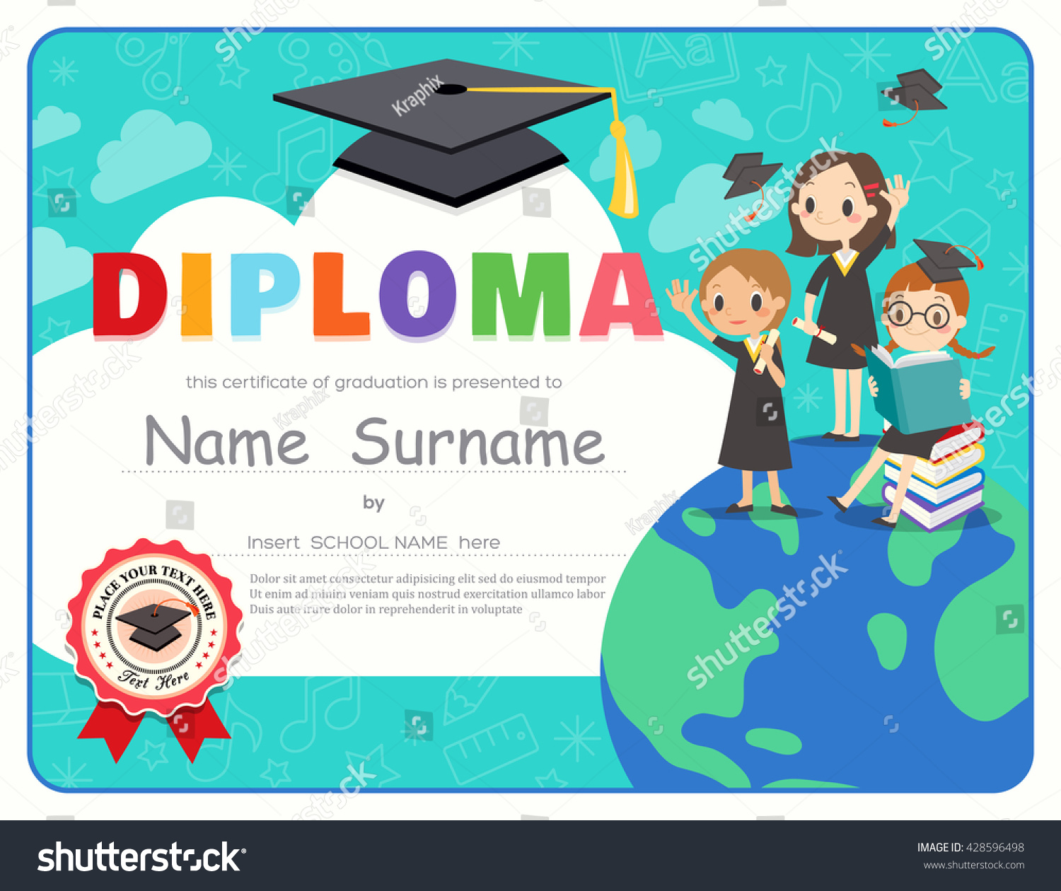 Primary school kids graduation diploma certificate stock vector primary school kids graduation diploma certificate background design template alramifo Images