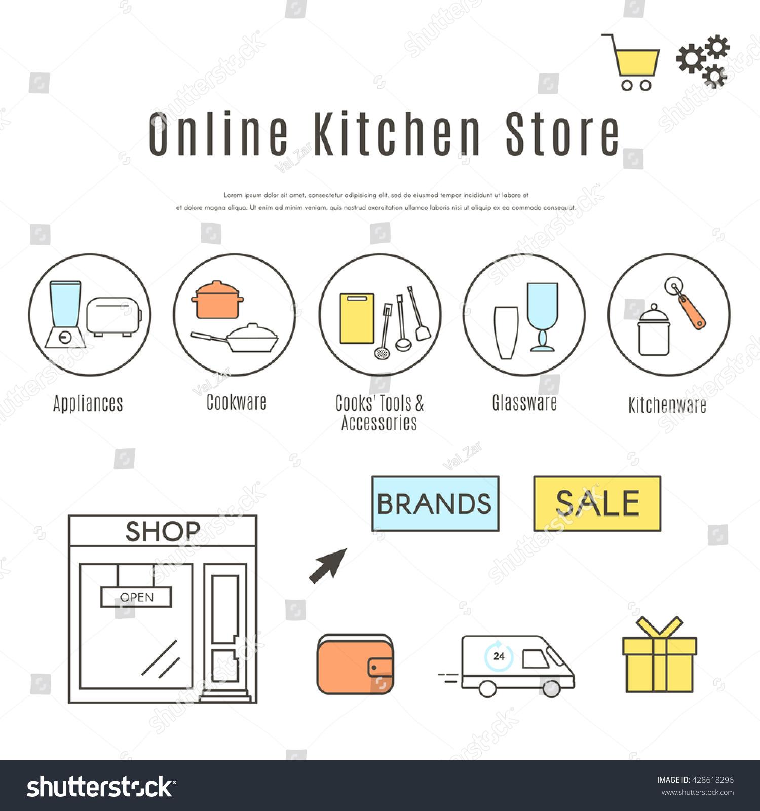 Online Kitchen Store Web Design Template Stock Vector