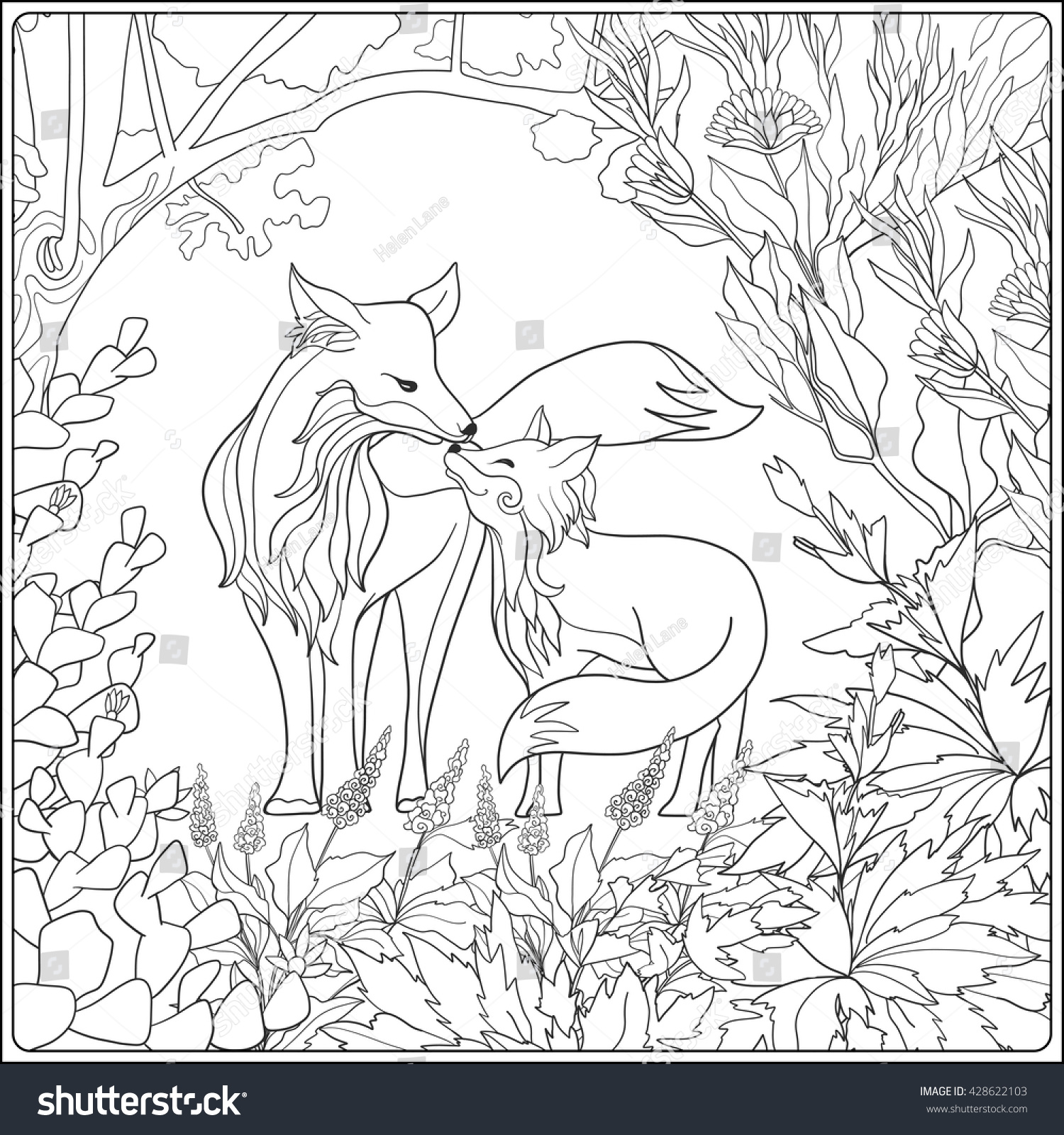 Coloring Book For Adult And Older Children Page With Lovely Mother Fox Her