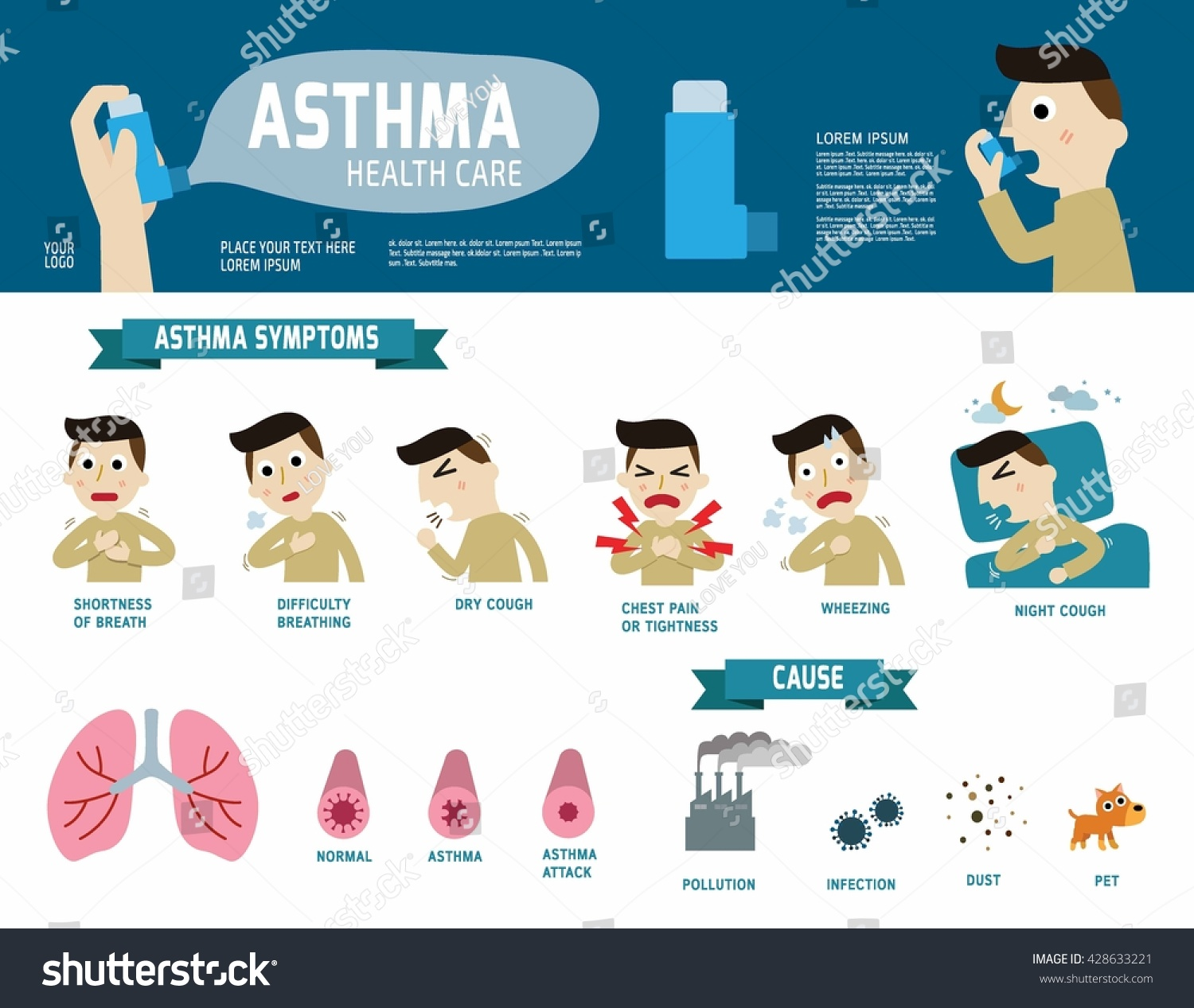 asthma brochure template - asthma disease vector infographic elements stock vector