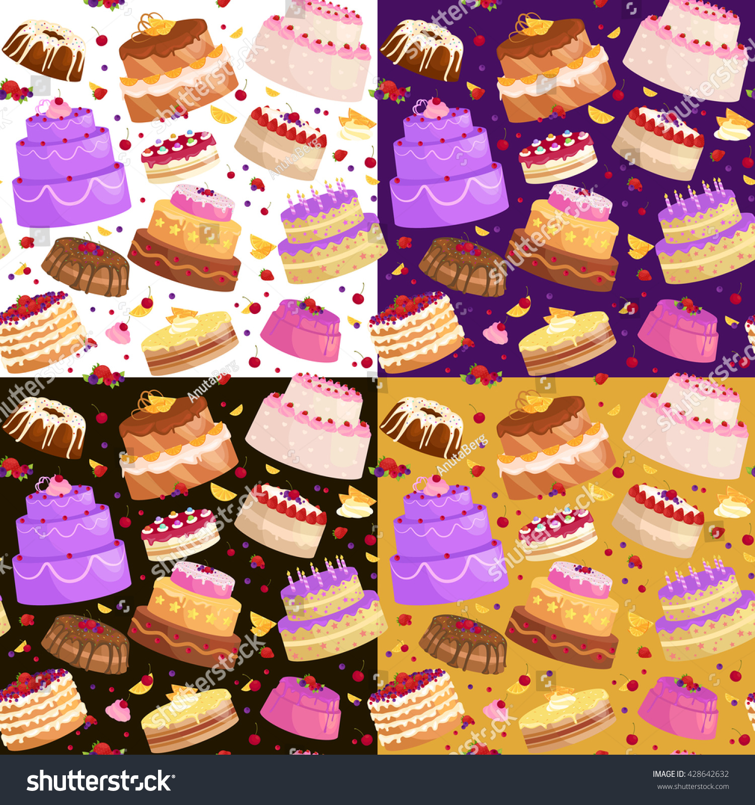 Illustration of sweet baked vector isolated cakes set.Strawberry icing cake for holiday baked brown chocolate cake for gourmet colorful birthday celebration cherry cake bakery with fruit cartoon