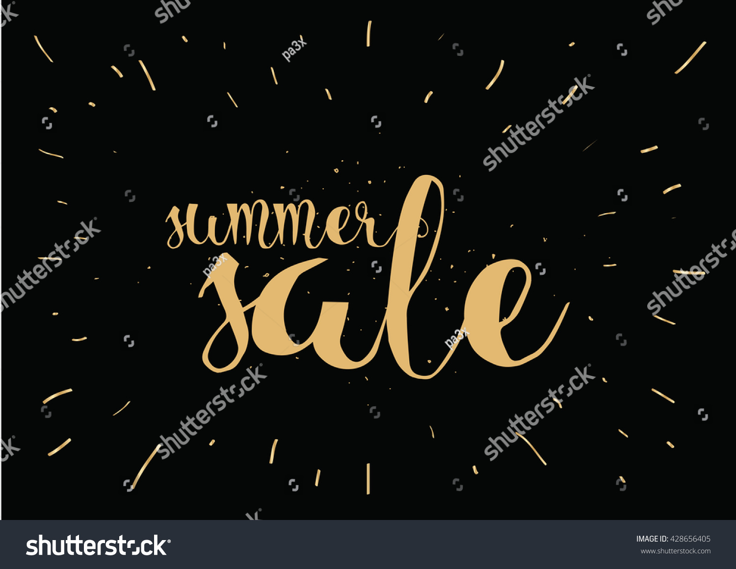 Summer sale banner card calligraphy hand stock vector