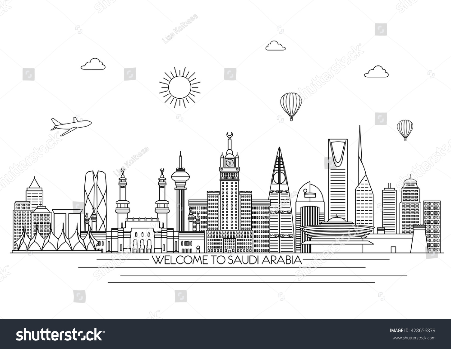 Saudi Arabia detailed Skyline Travel and tourism background Vector background line illustration Line art style