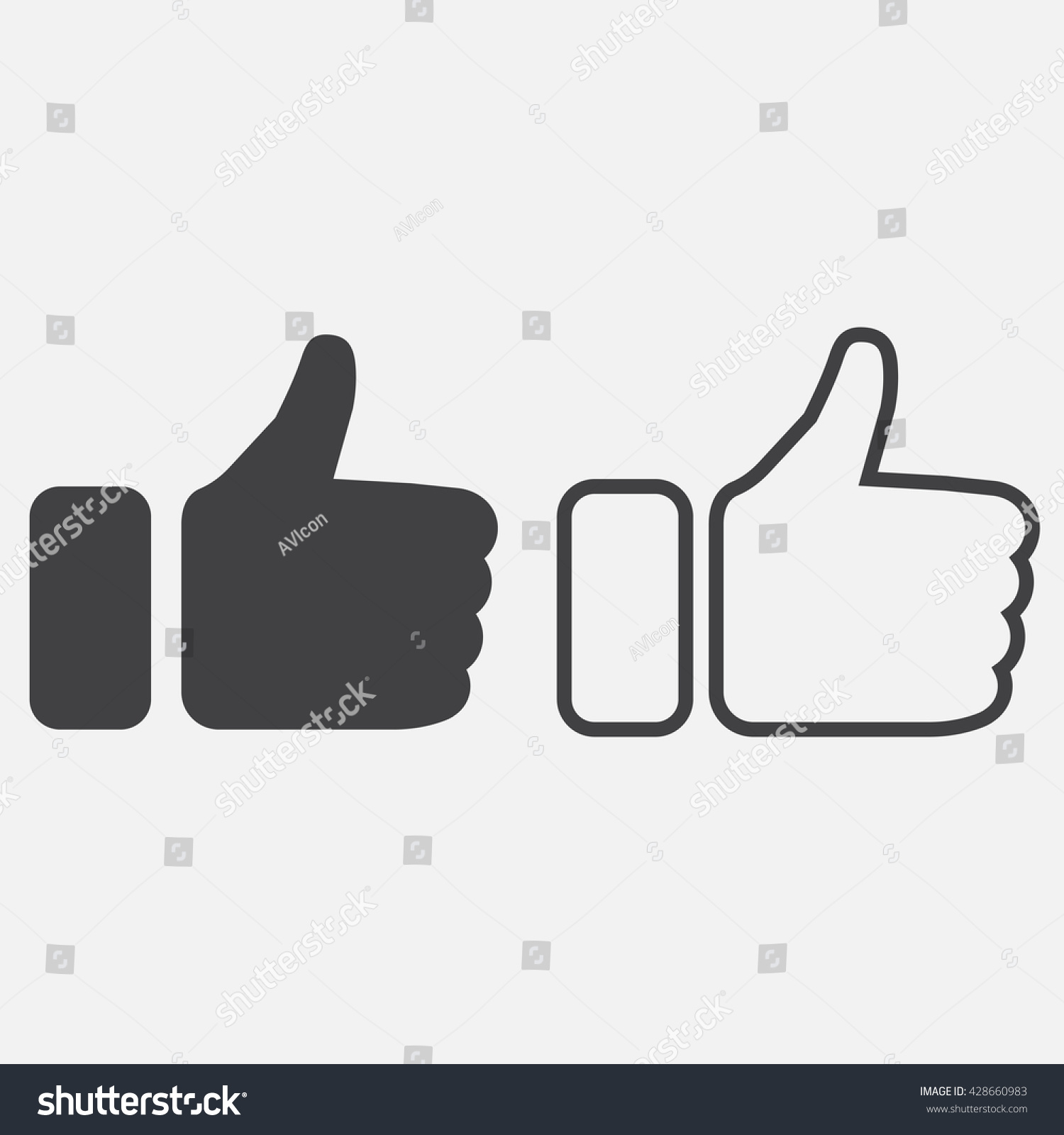 Thumbs up and thumbs down emoticons Vector illustration