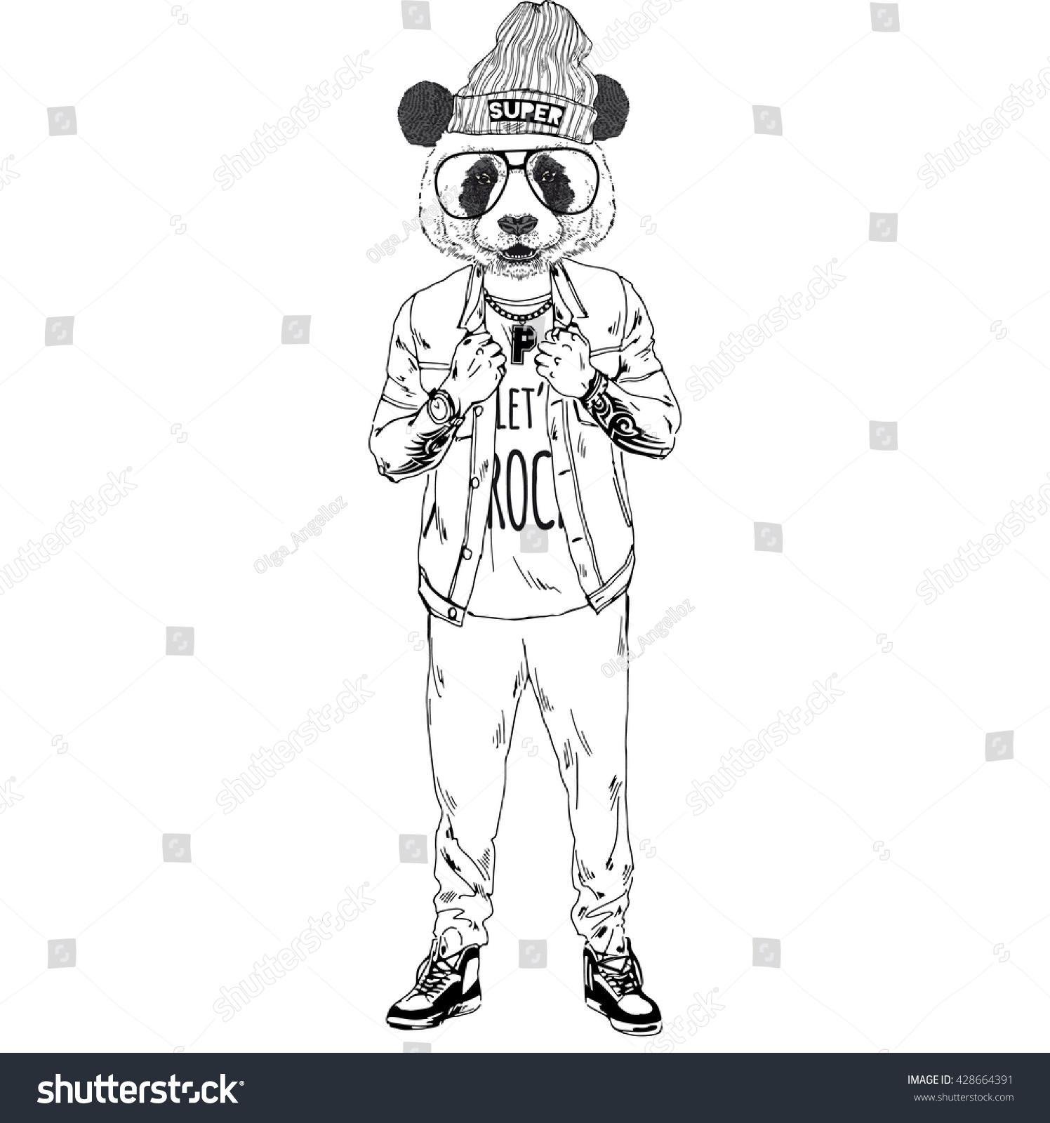 Panda Boy Dressed Up In Rock Star Style Furry Art Illustration Fashion Animals