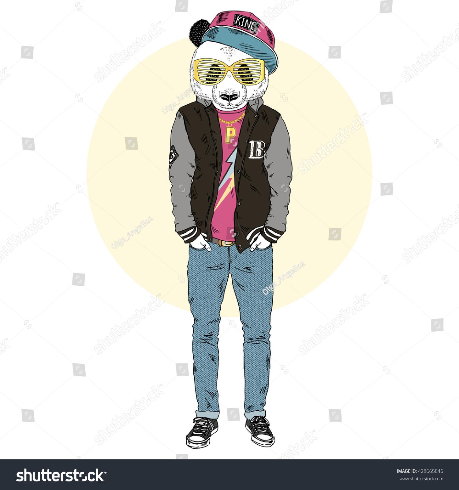panda boy dressed swag varsity jacket stock vector