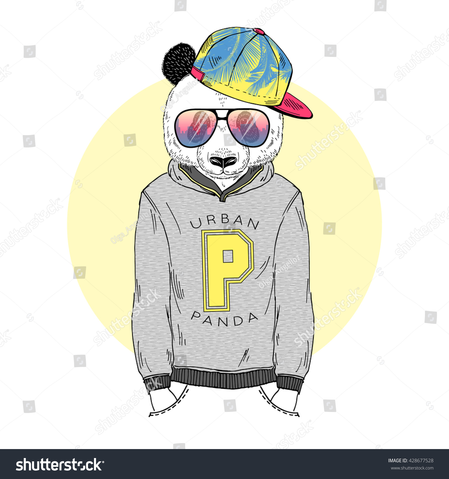 panda boy dressed up in hoodie with print furry art illustration fashion animals hipster animals