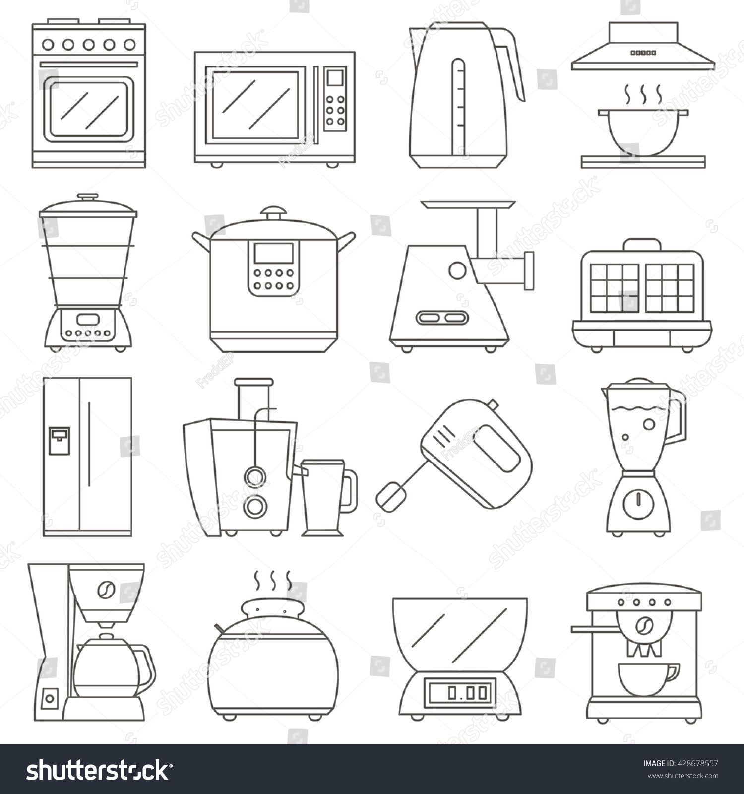big set of line icon of electrical kitchen appliances isolated on white  background, vector flat