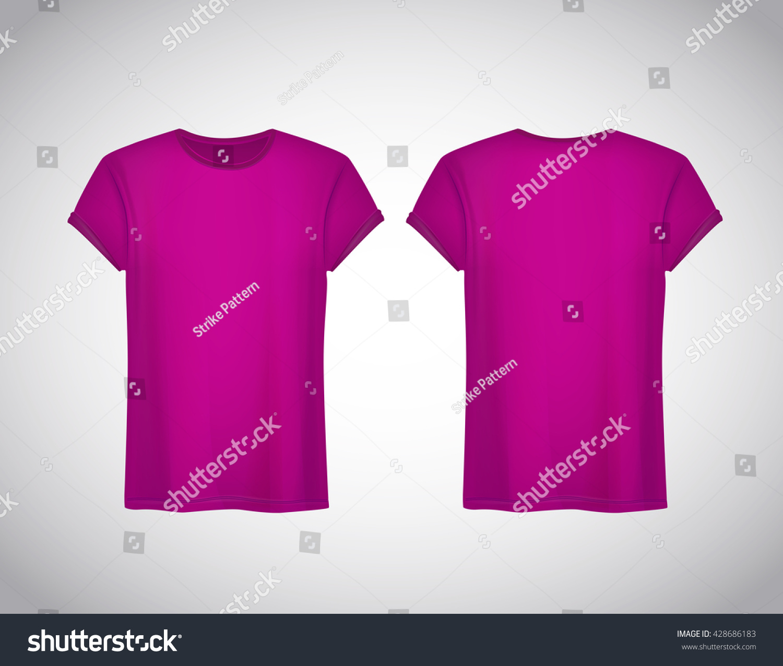Men pink tshirt realistic mockup short stock vector for Pink t shirt template