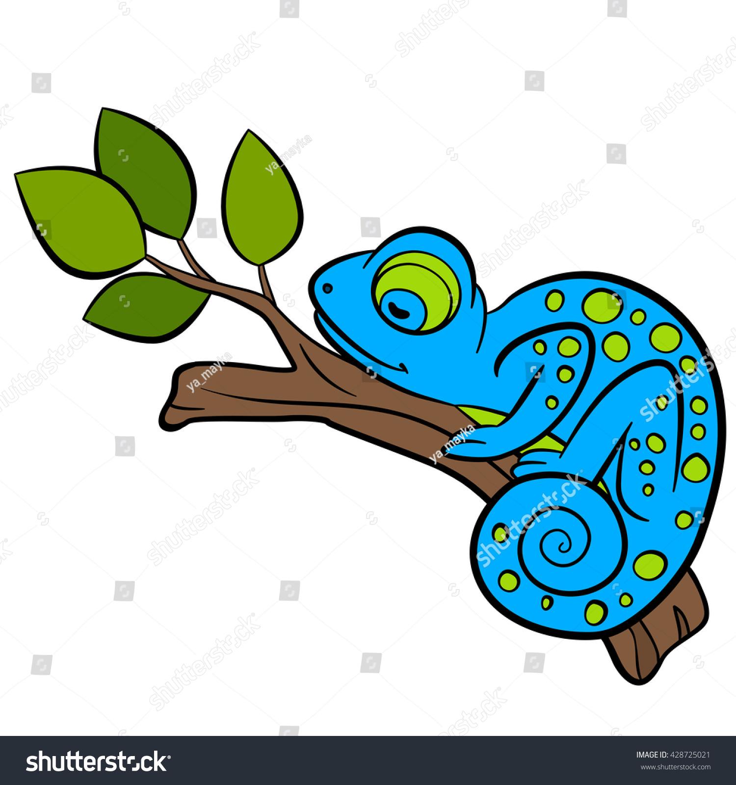 cartoon animals kids little cute blue stock vector 428725021