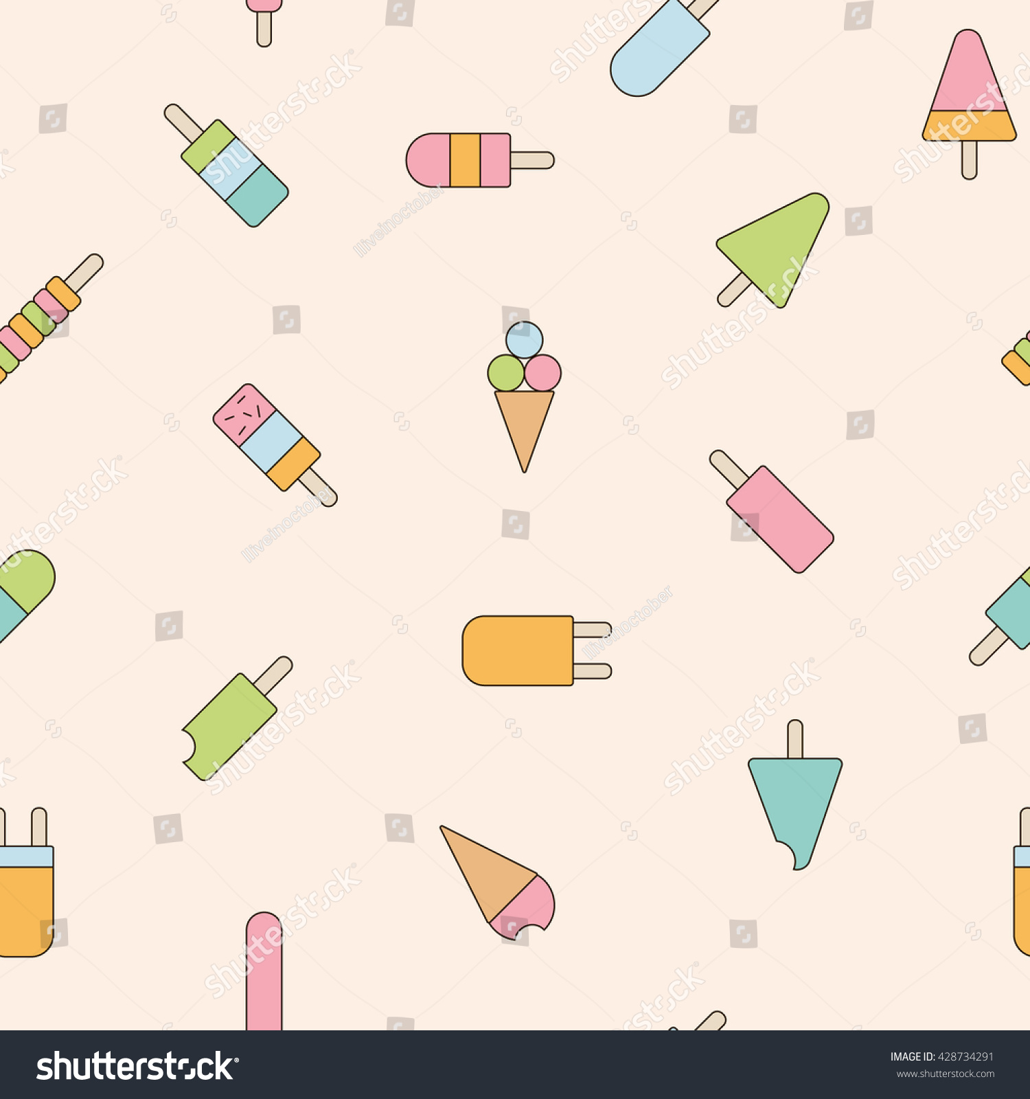 Sweet Ice Cream Flat Colorful Seamless Pattern Vector: Ice Cream Icons Seamless Pattern Vector Stock Vector