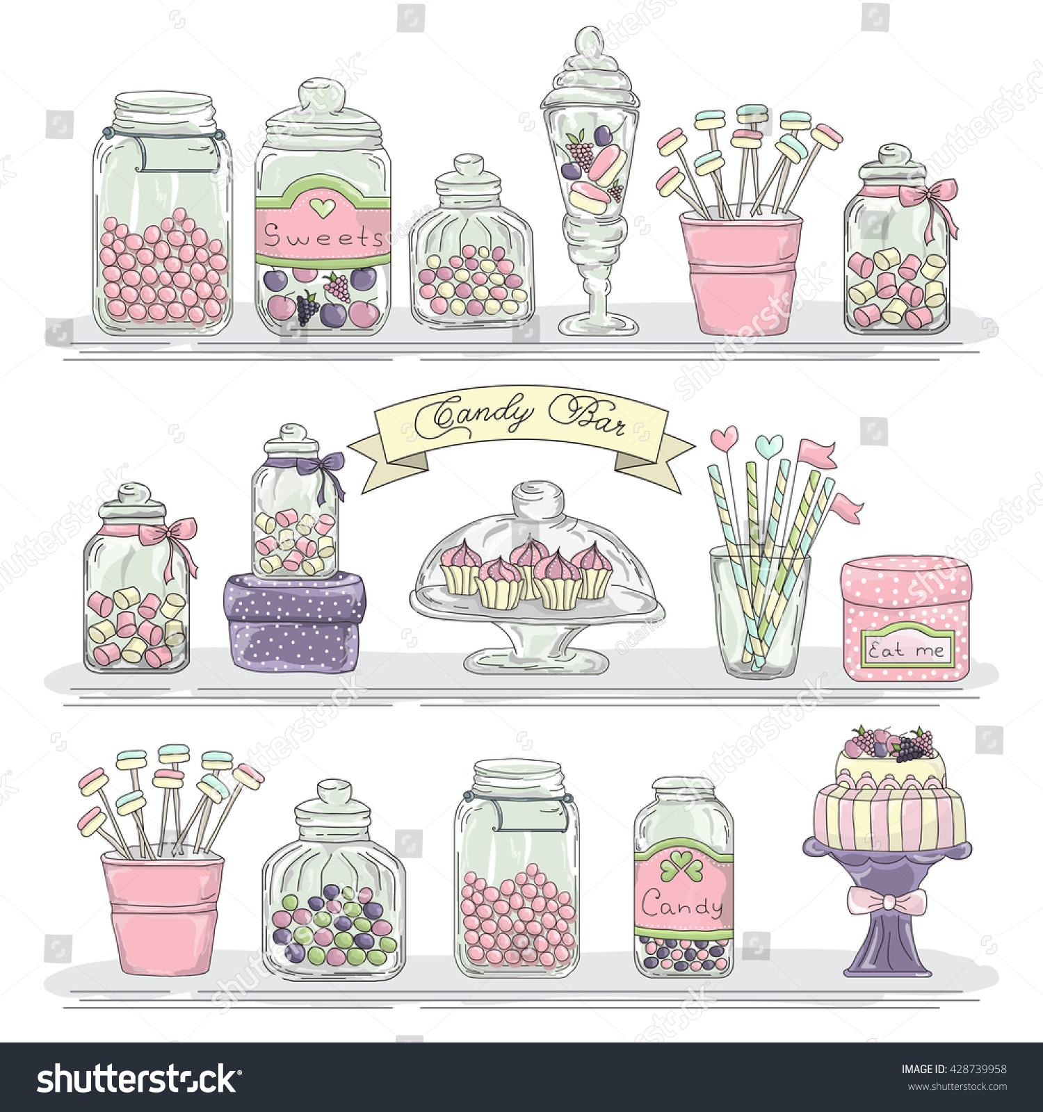 cute hand drawn glass jars can s stock vector