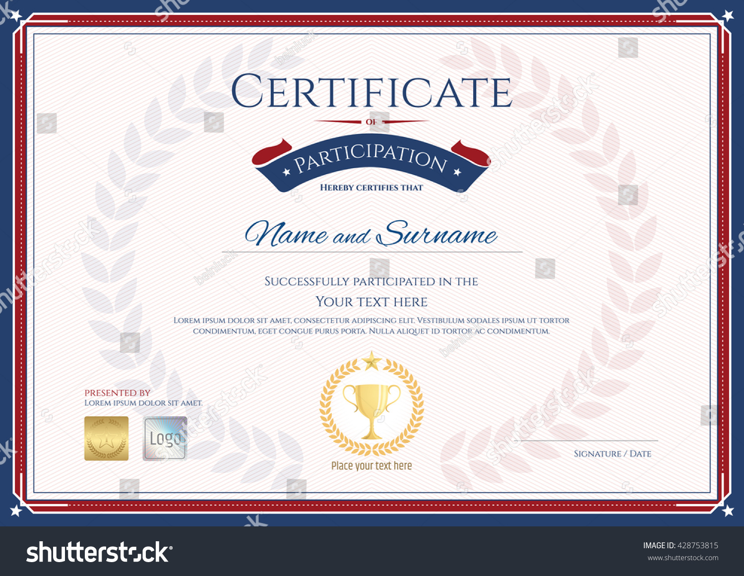 Certificate Participation Template Sport Theme Gold Vector – Certificate of Participation Template